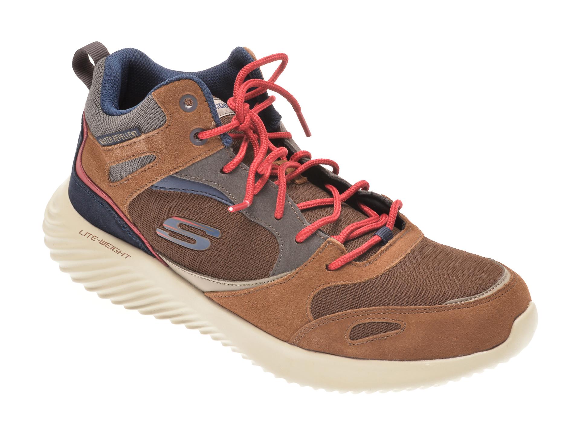 Pantofi sport SKECHERS maro, BOUNDER HYRIDGE, din material textil si piele intoarsa imagine