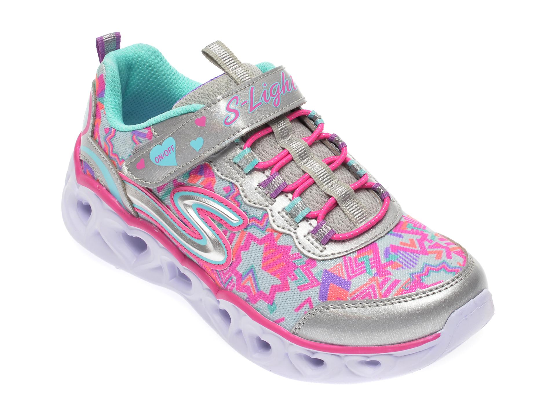 Pantofi sport SKECHERS multicolor, Heart Lights, din material textil si piele ecologica imagine otter.ro