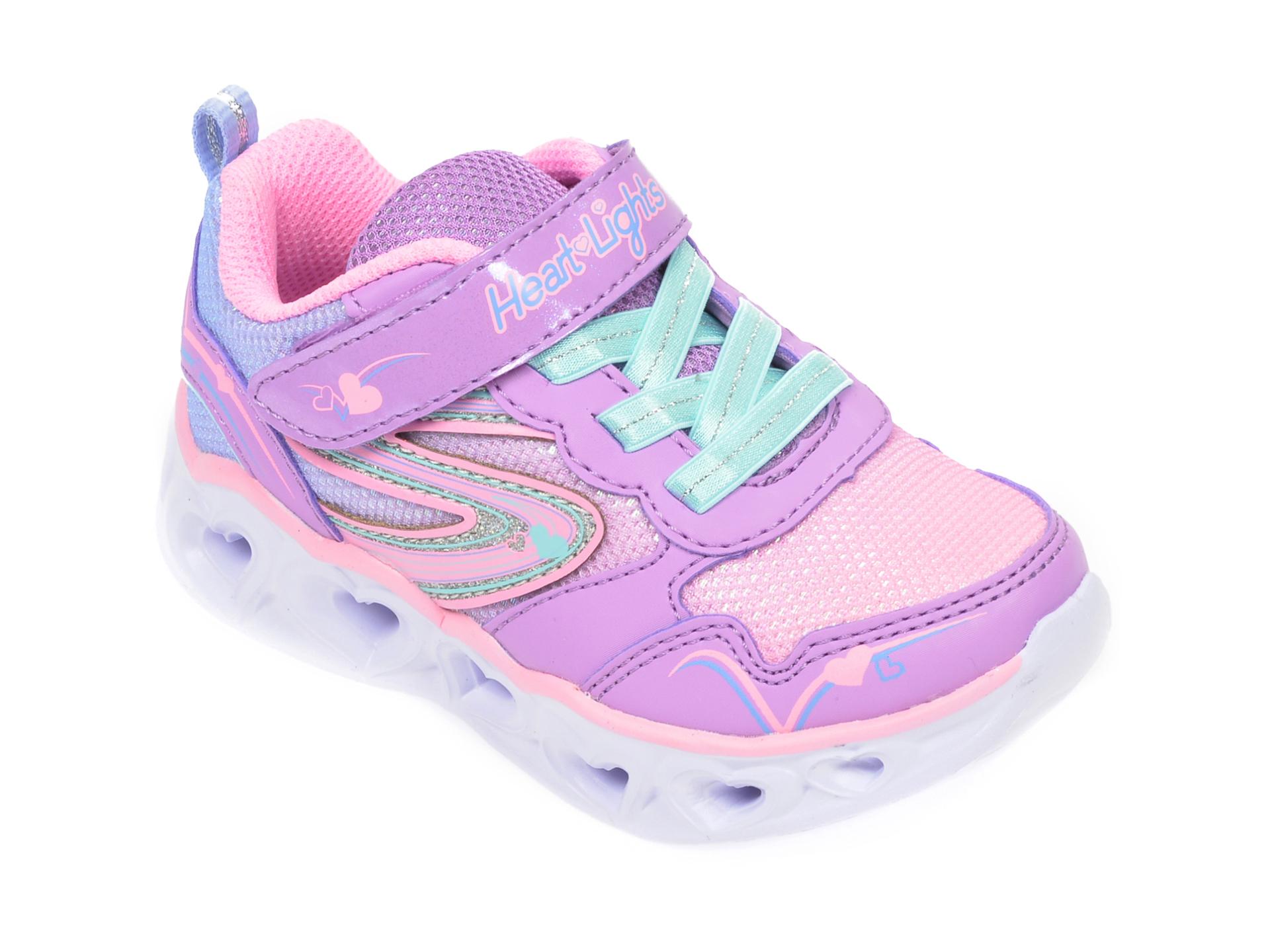 Pantofi sport SKECHERS multicolor, Heart Lights Love Spark, din material textil si piele ecologica New