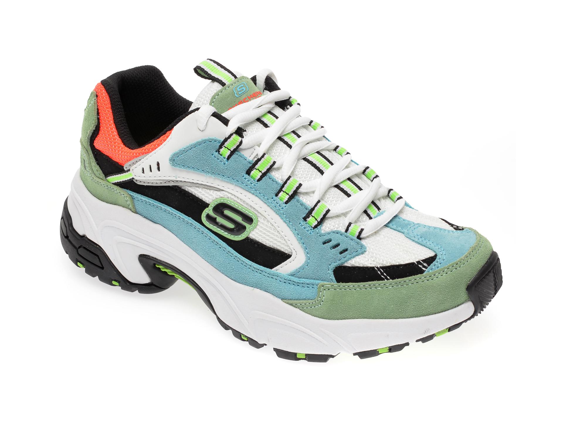 Pantofi sport SKECHERS multicolor, Stamina Sugar Rocks, din material textil si piele intoarsa