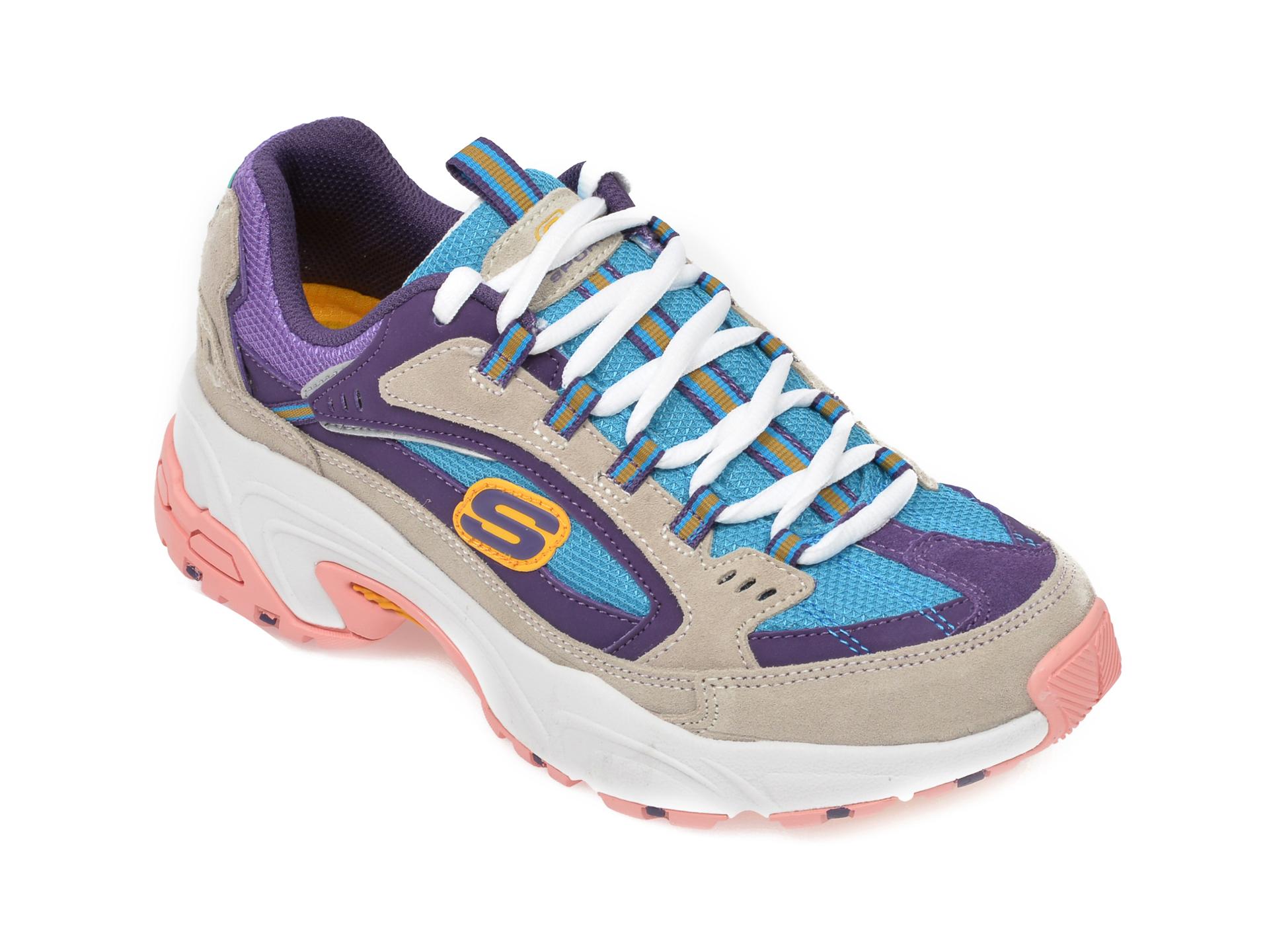 Pantofi sport SKECHERS multicolor, Stamina Sugar Rocks, din piele naturala New