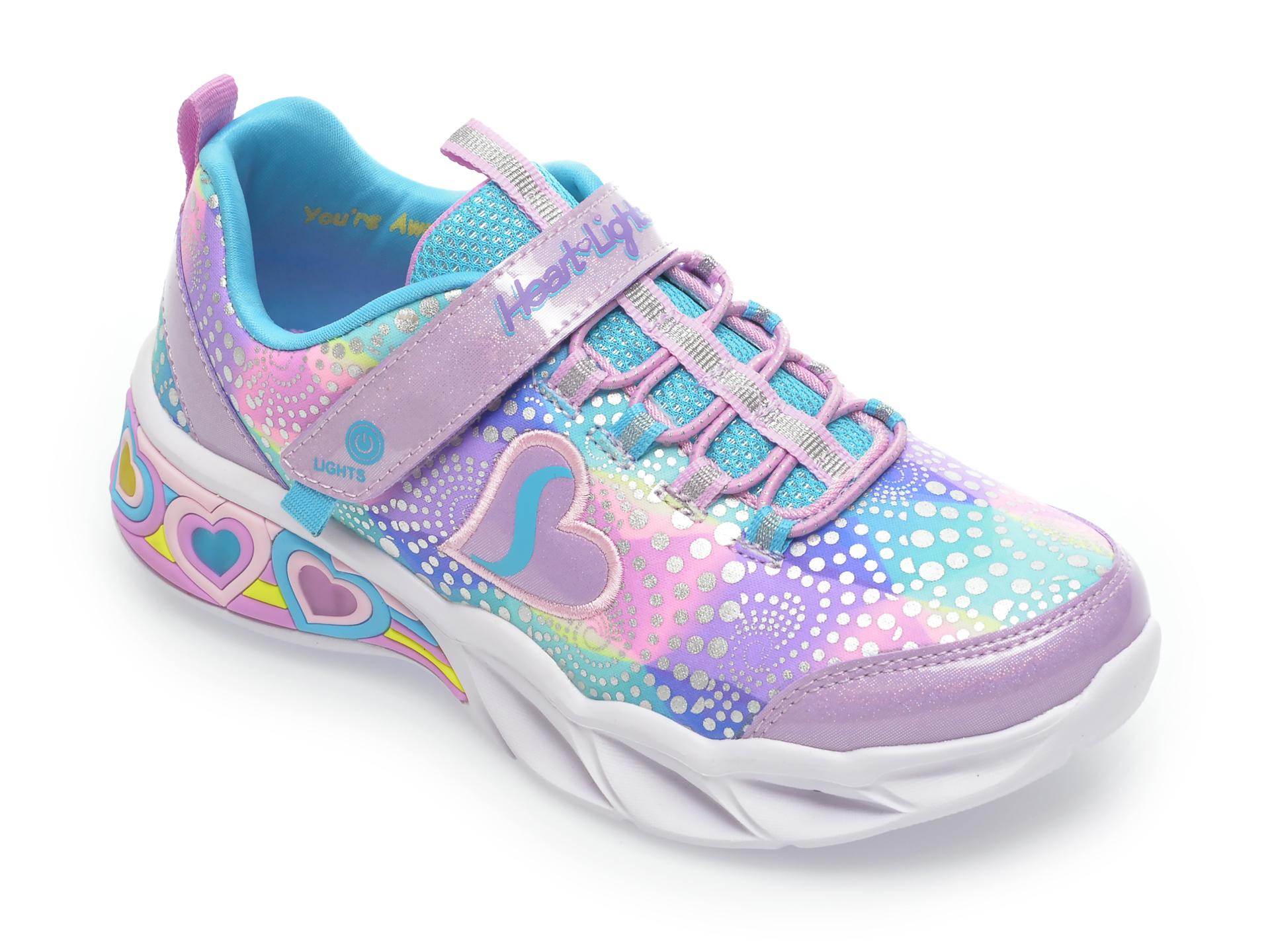 Pantofi sport SKECHERS multicolori, 302059L, din material textil si piele ecologica imagine otter.ro