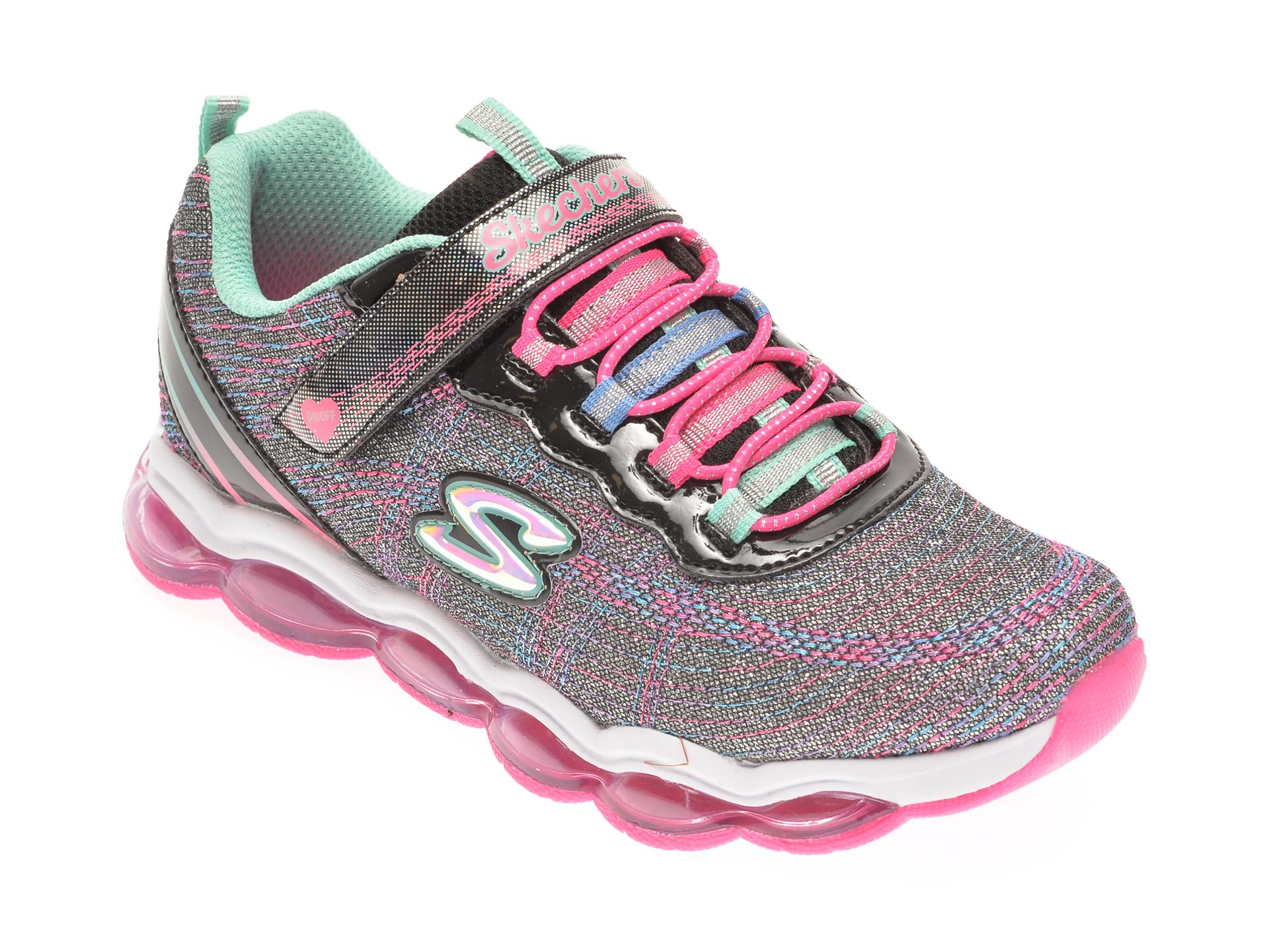 Pantofi sport SKECHERS multicolori, GLIMMER LIGHTS, din material textil si piele ecologica imagine otter.ro