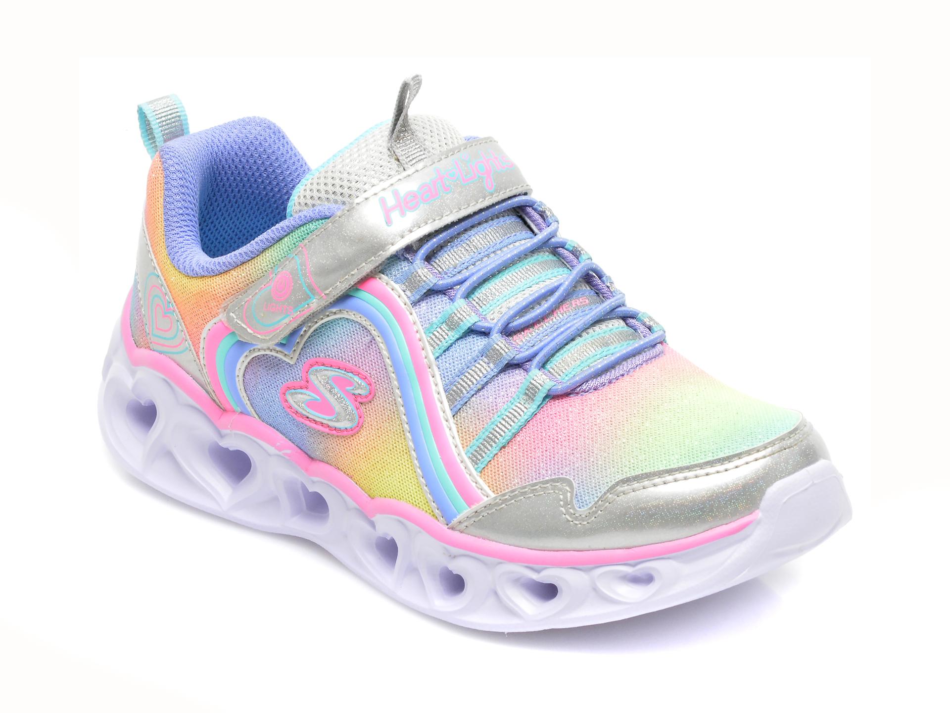 Pantofi sport SKECHERS multicolori, HEART LIGHTS, din material textil si piele ecologica