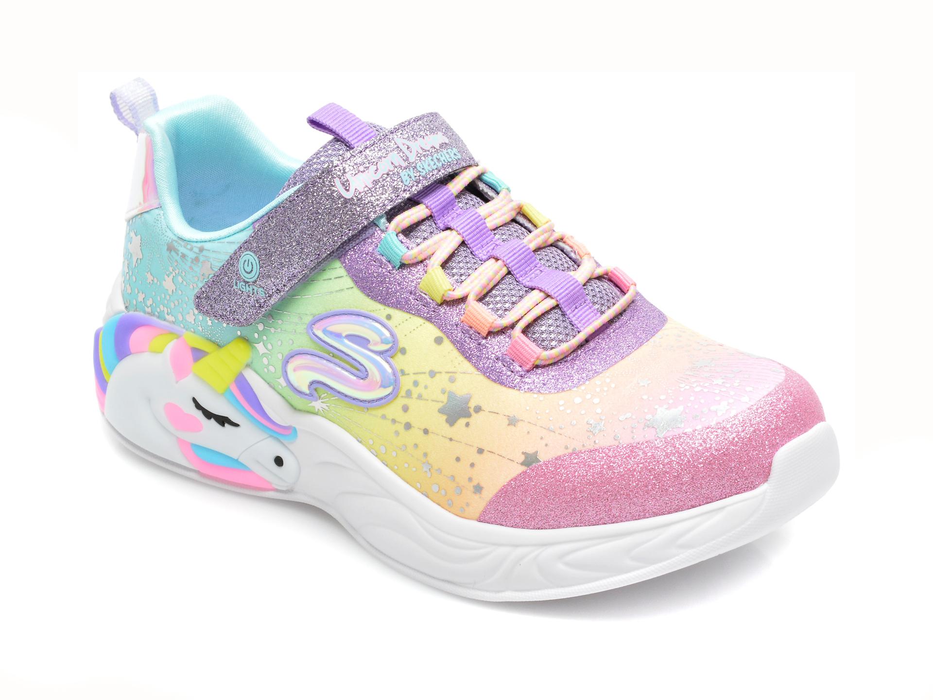 Pantofi sport SKECHERS multicolori, UNICORN DREAMS, din material textil