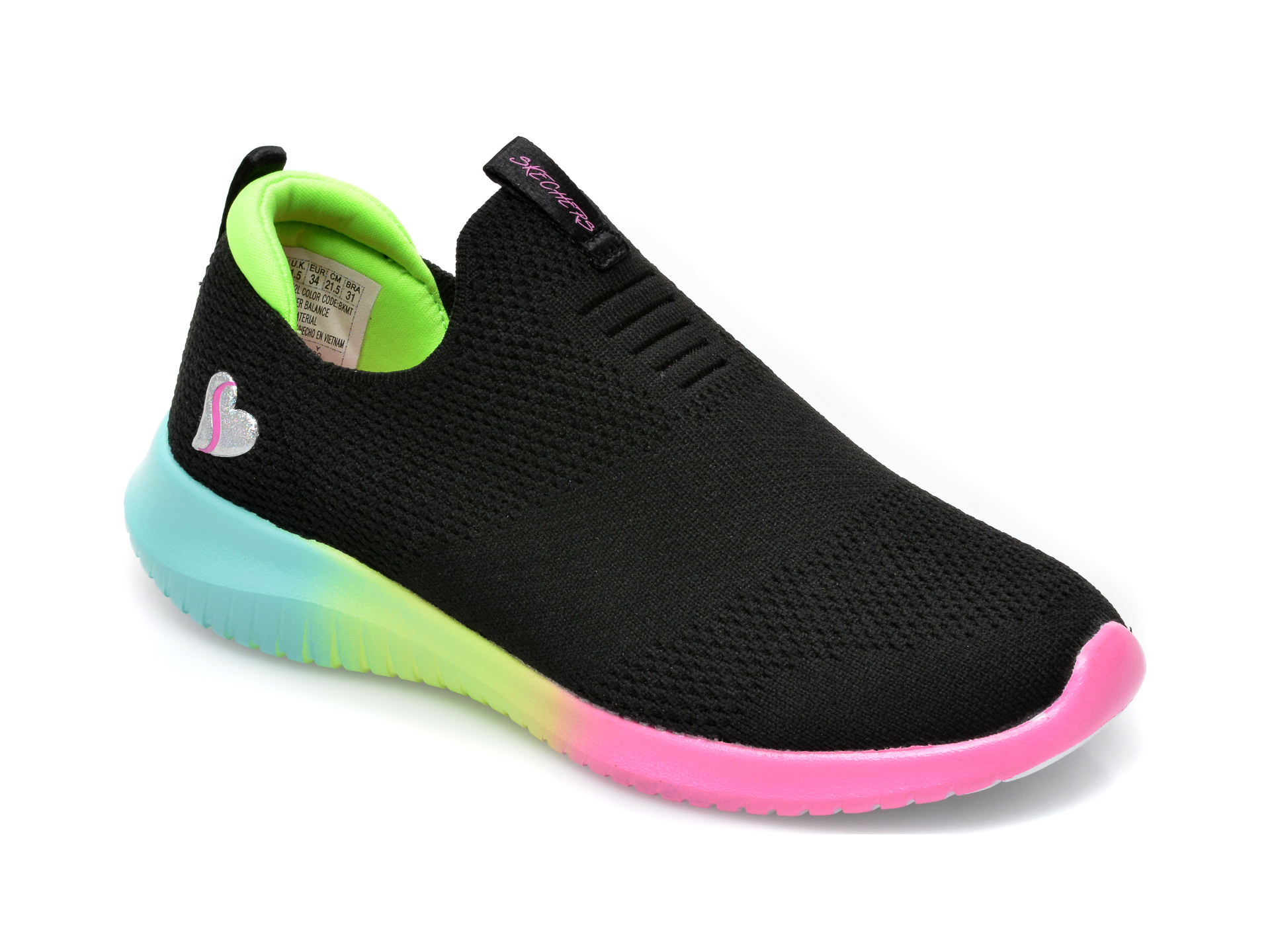 Pantofi sport SKECHERS negri, 302252L, din material textil