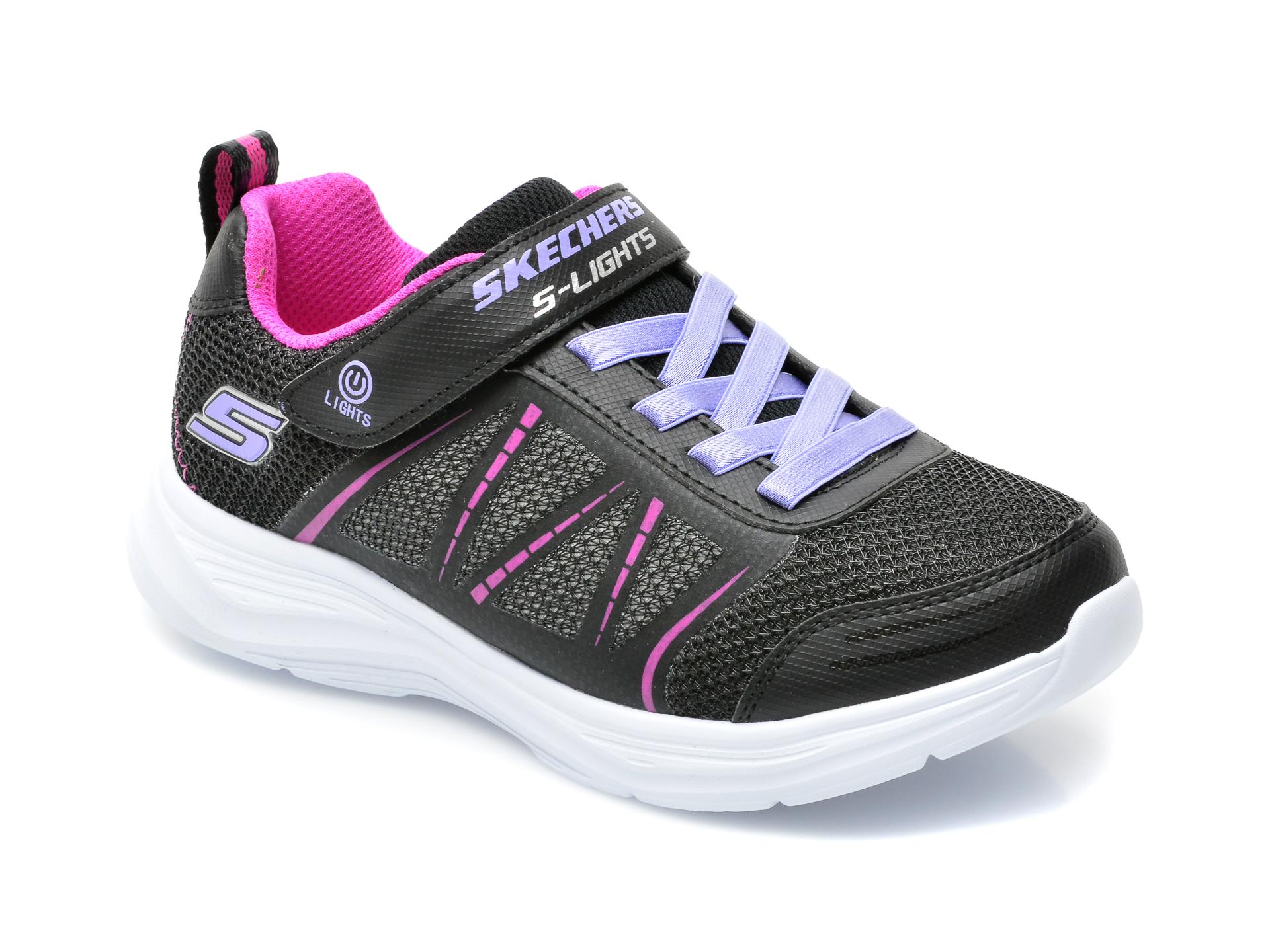Pantofi sport SKECHERS negri, 302302L, din material textil si piele ecologica