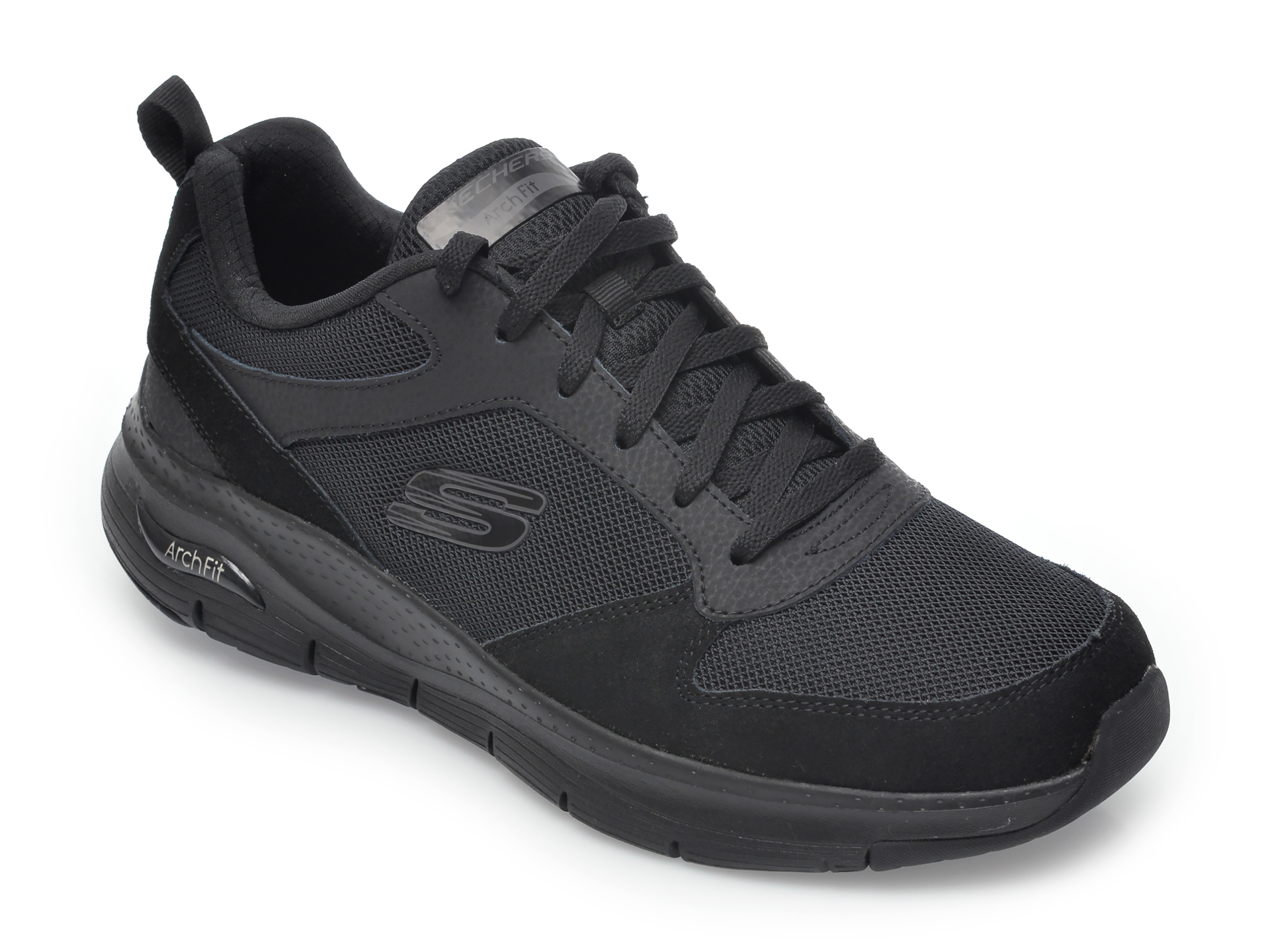 Pantofi sport SKECHERS negri, Arch Fit Servitica, din material textil si piele naturala imagine
