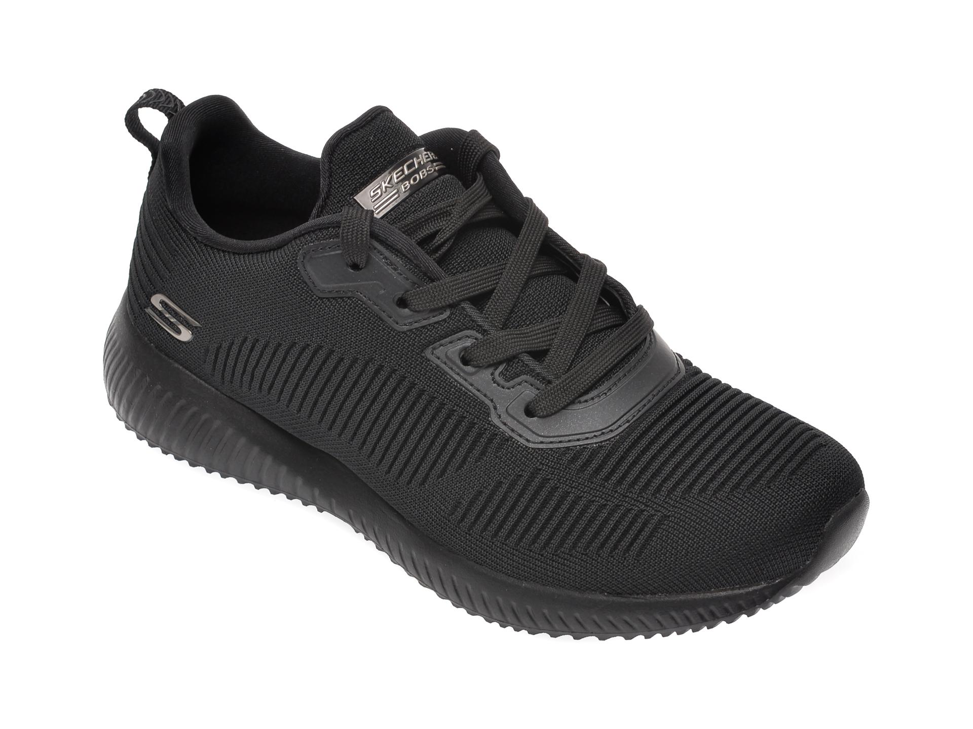 Pantofi sport SKECHERS negri, BOBS SQUAD TOUGH TALK, din material textil New