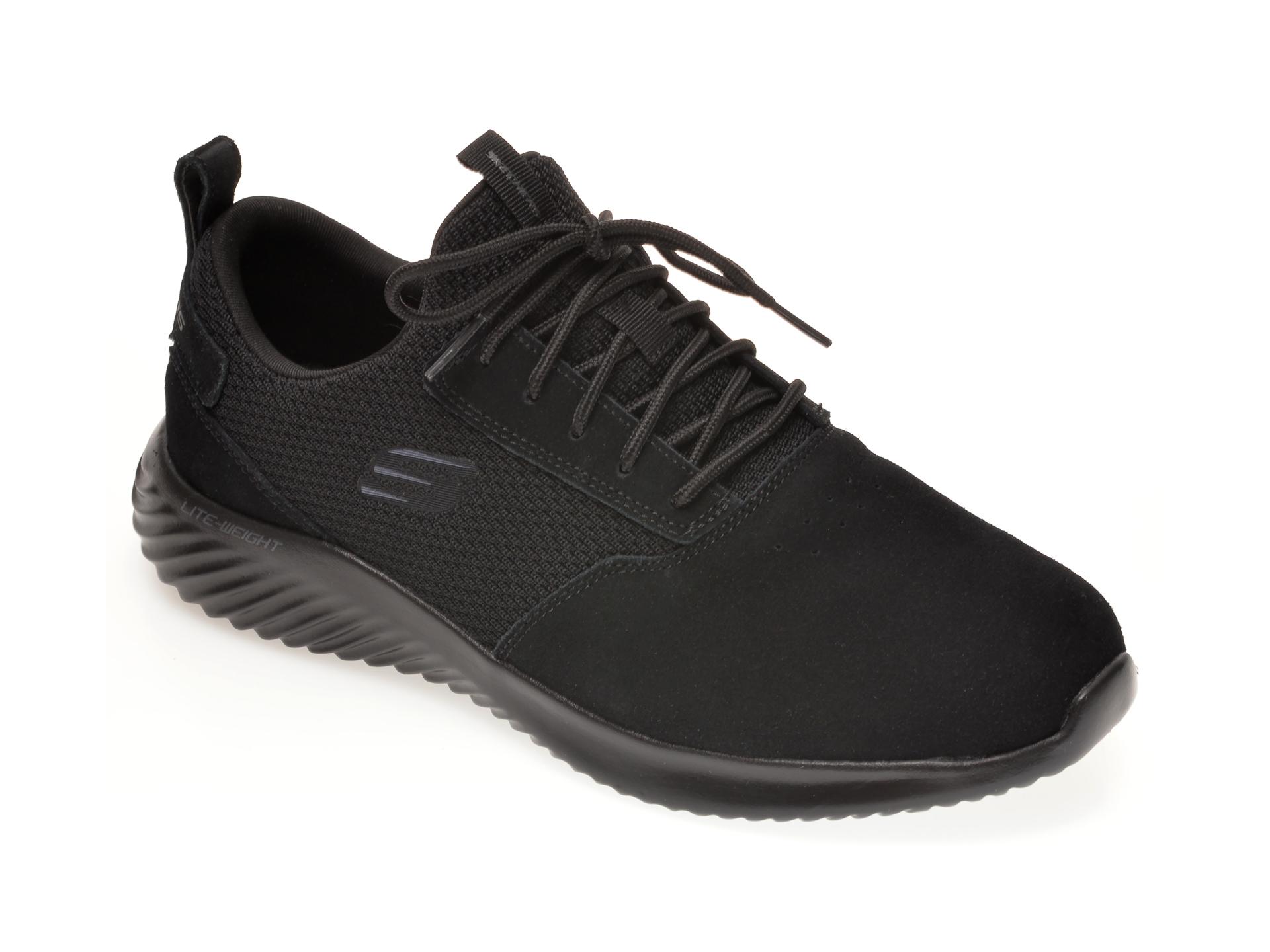 Pantofi sport SKECHERS negri, BOUNDER SKICHR, din material textil si piele intoarsa imagine