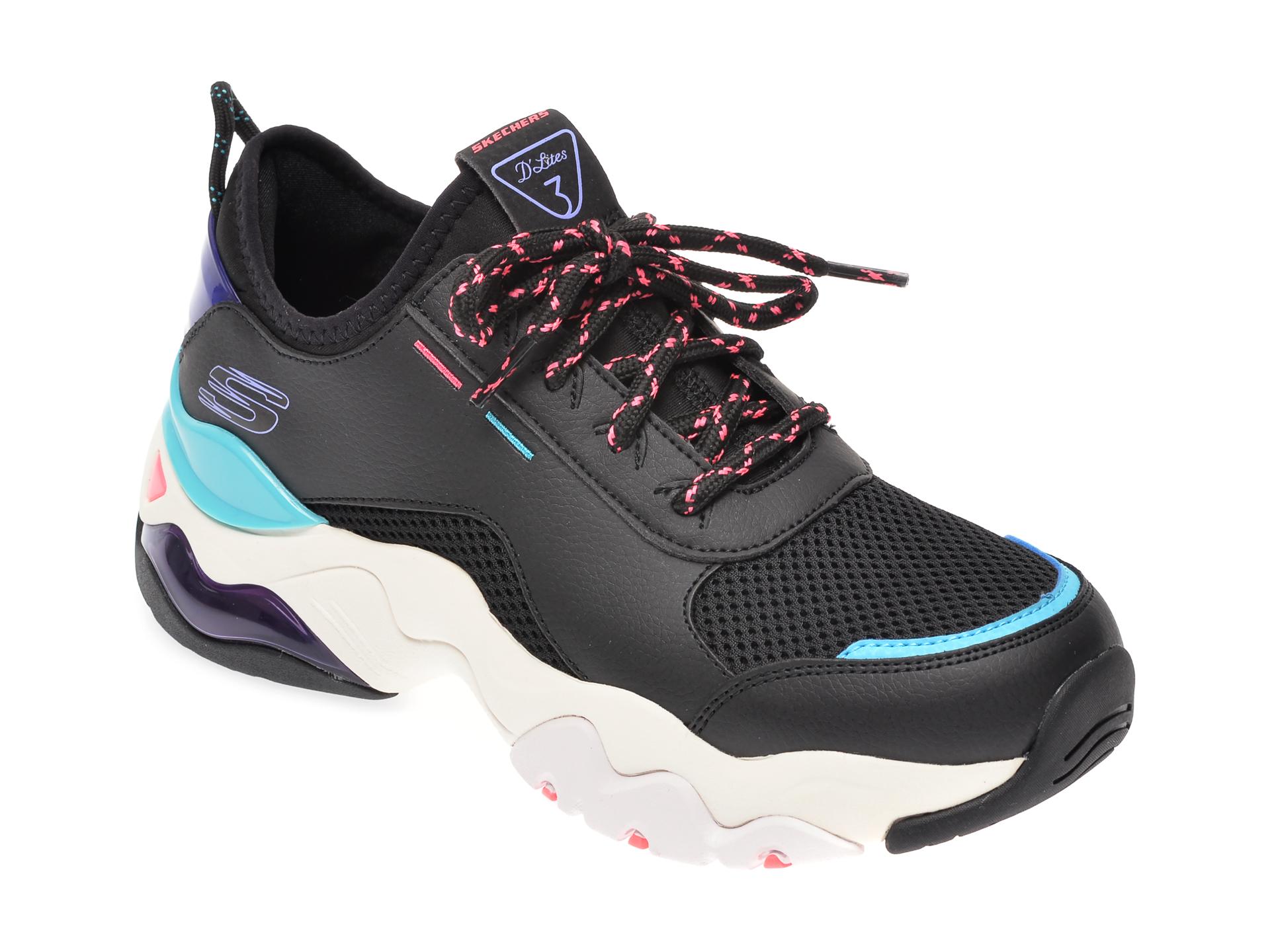 Pantofi sport SKECHERS negri, Dlites 3.0 Air, din material textil si piele naturala