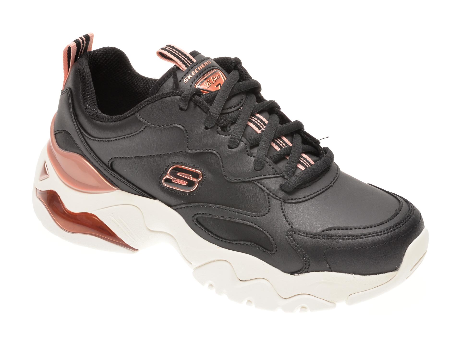 Pantofi sport SKECHERS negri, DLITES 3.0 AIR GOLDEN RULES, din piele naturala imagine otter.ro