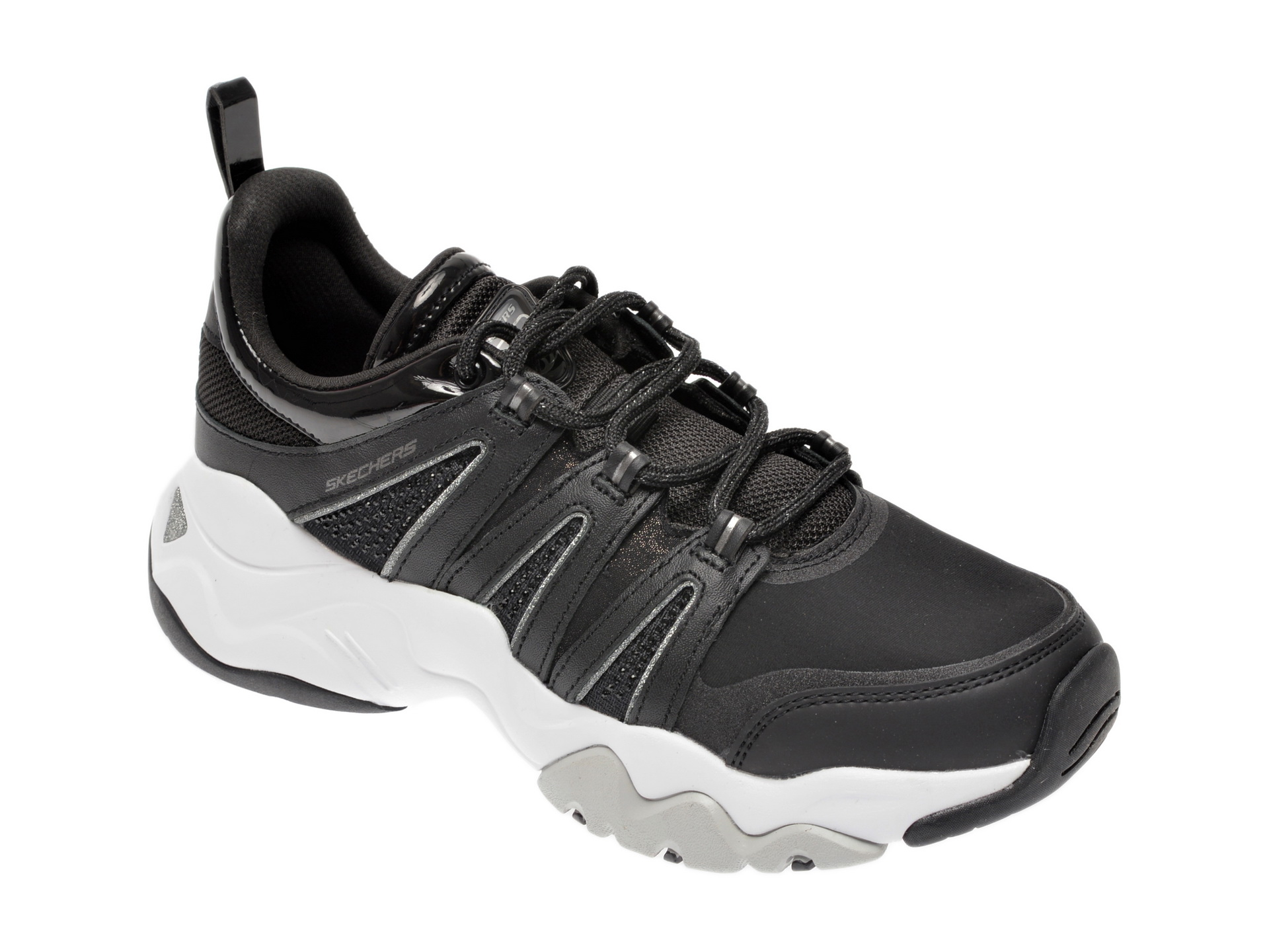 Pantofi sport SKECHERS negri, Dlites 3.0 Intense Force, din material textil si piele naturala
