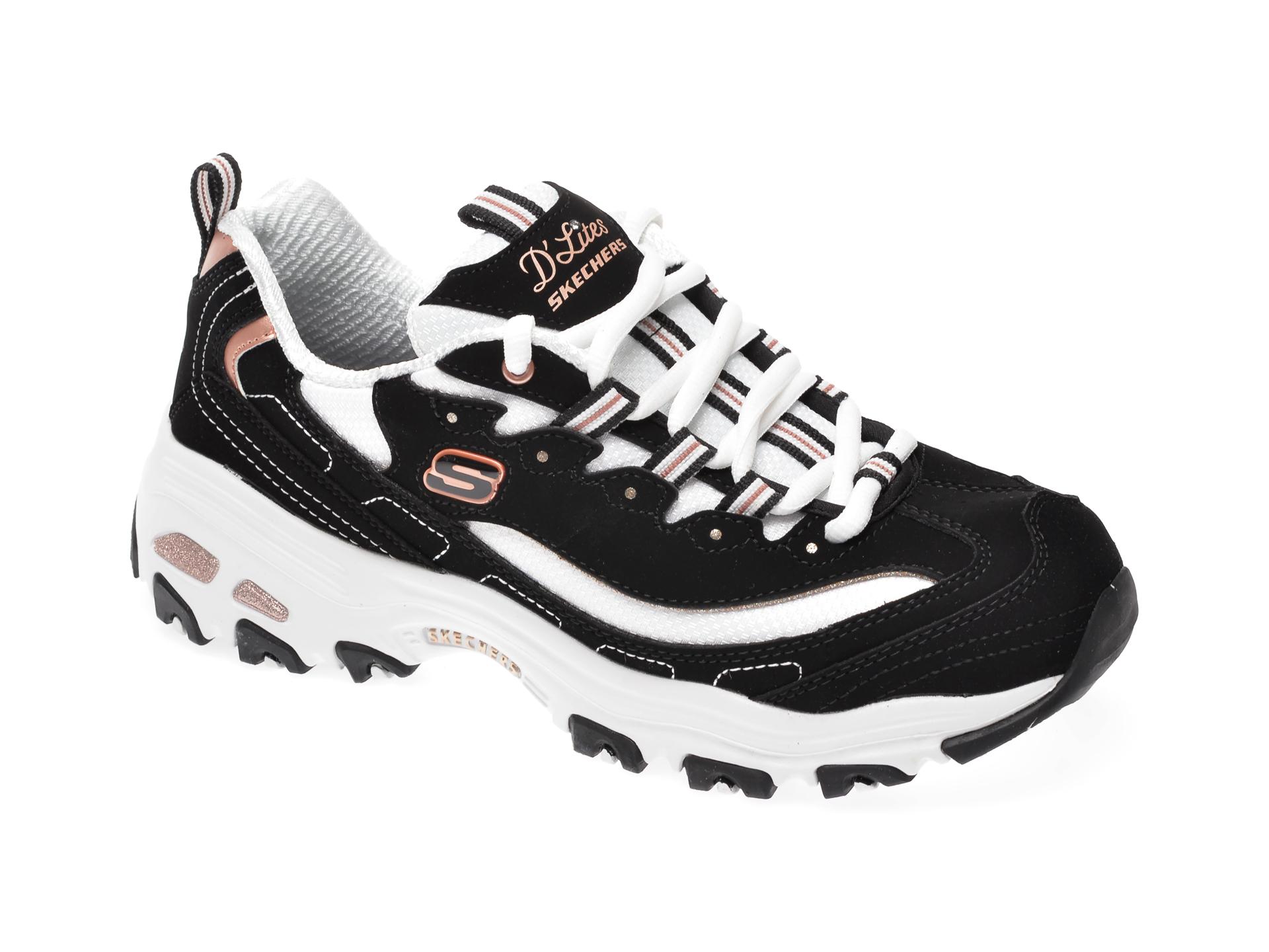 Pantofi sport SKECHERS negri, Dlites Devoted Fan, din material textil si piele intoarsa