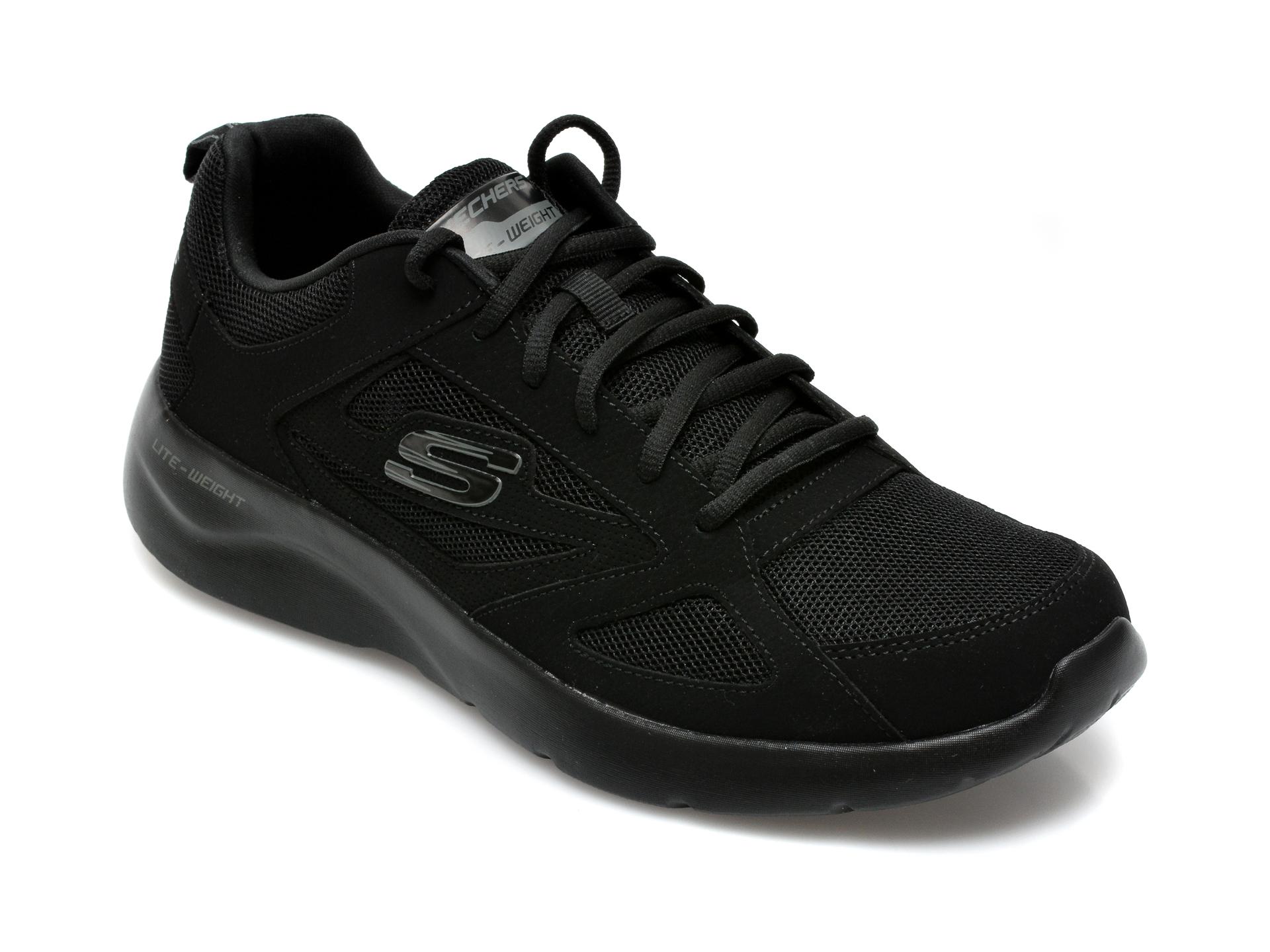 Pantofi sport SKECHERS negri, Dynamight 2.0 Fallford, din material textil si piele naturala imagine