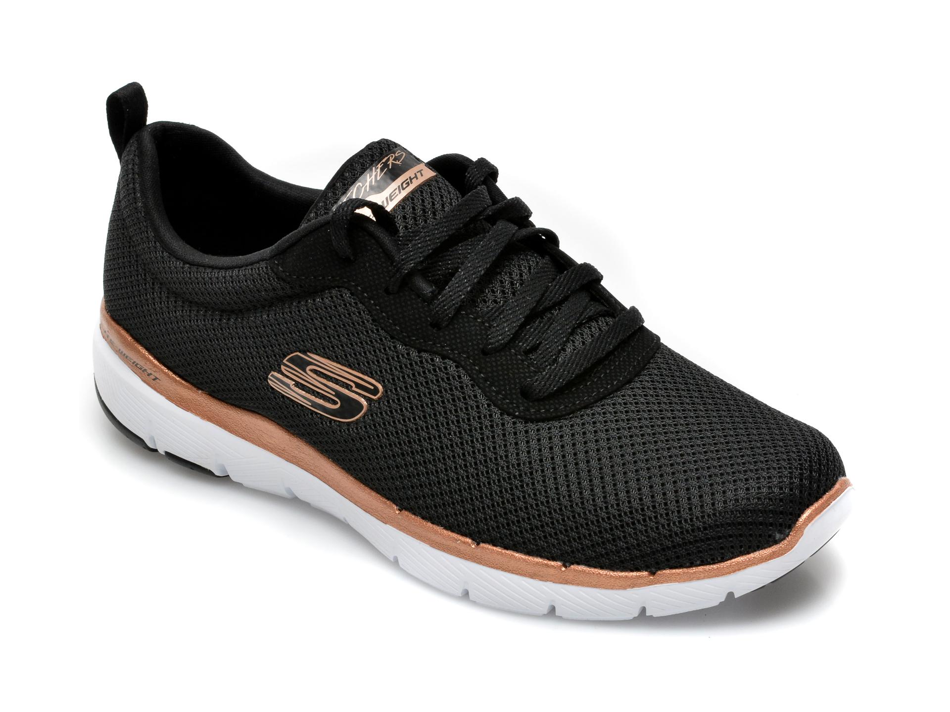 Pantofi sport SKECHERS negri, Flex Appeal 3.0 First Insight, din material textil imagine otter.ro