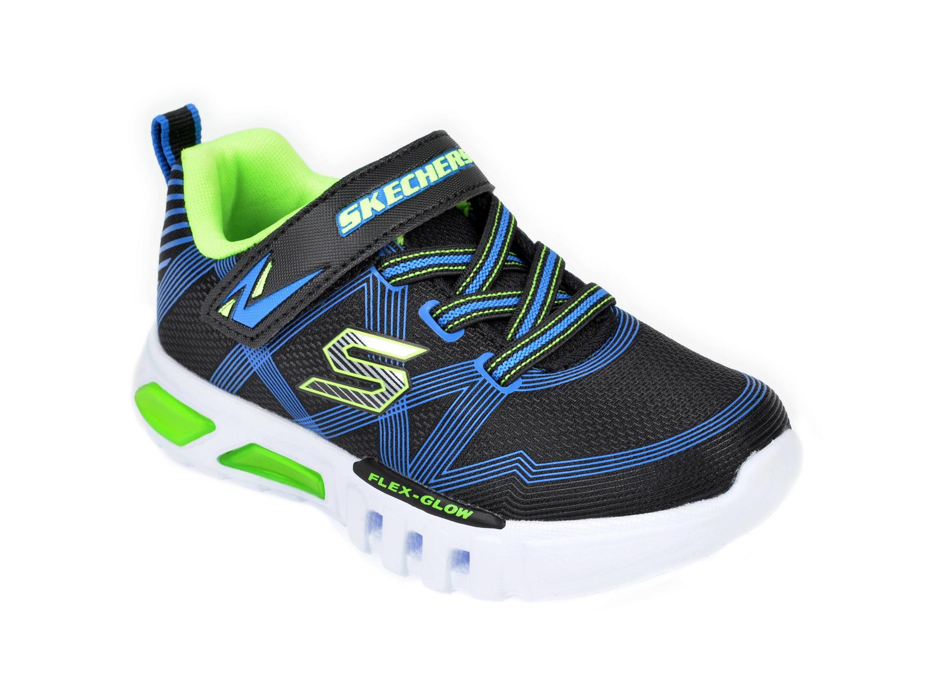 Pantofi sport SKECHERS negri, Flex-Glow, din material textil imagine