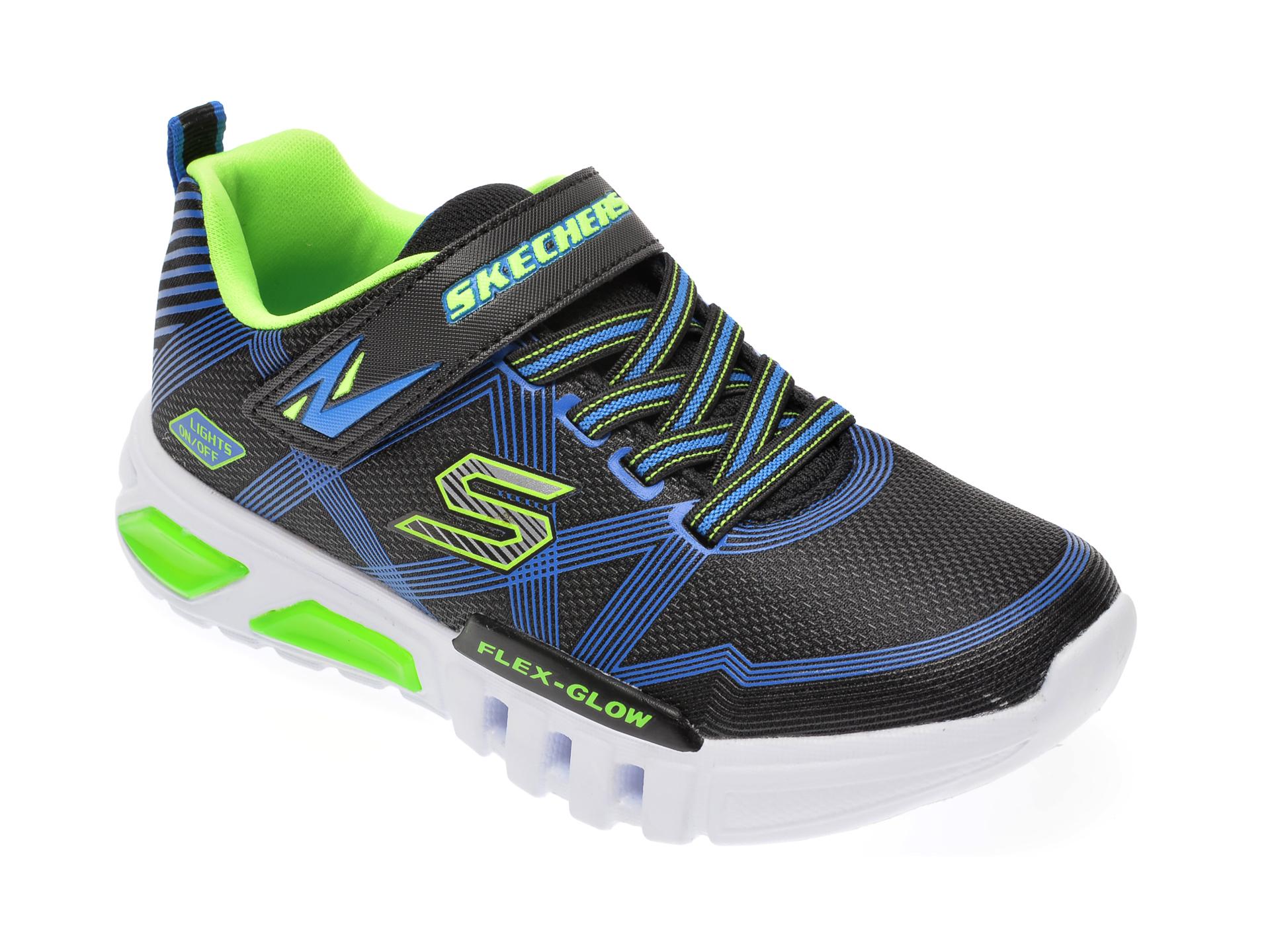 Pantofi sport SKECHERS negri, Flex-Glow, din material textil si piele ecologica New