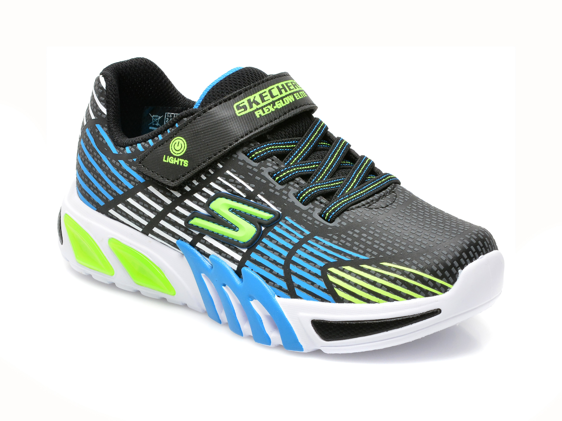 Pantofi sport SKECHERS negri, FLEX-GLOW ELITE, din piele ecologica