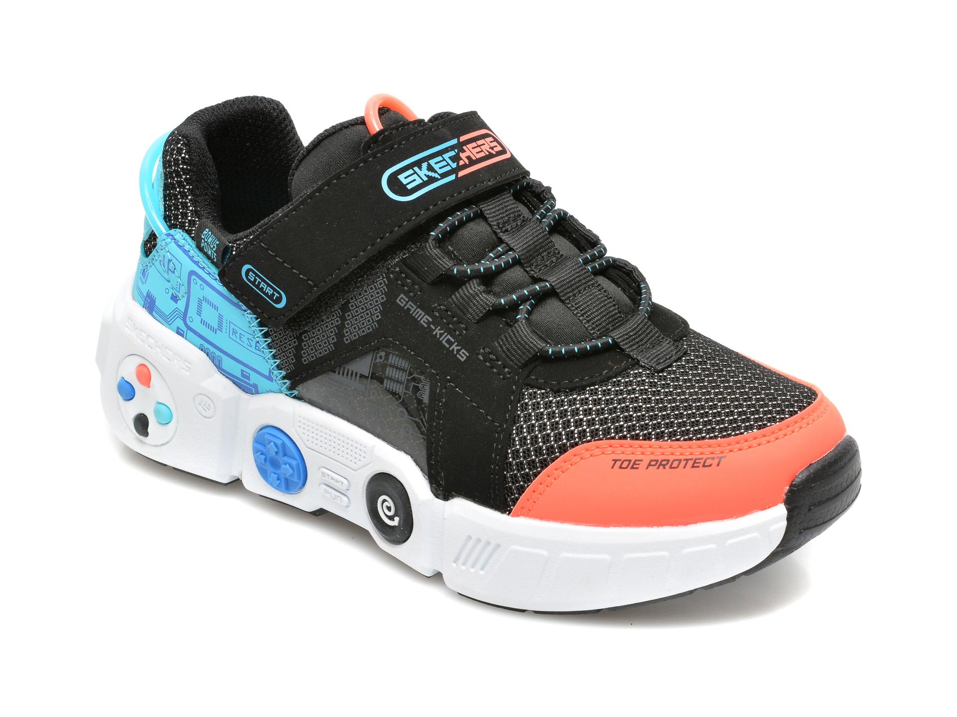 Pantofi sport SKECHERS negri, GAMETRONIX, din material textil si piele ecologica