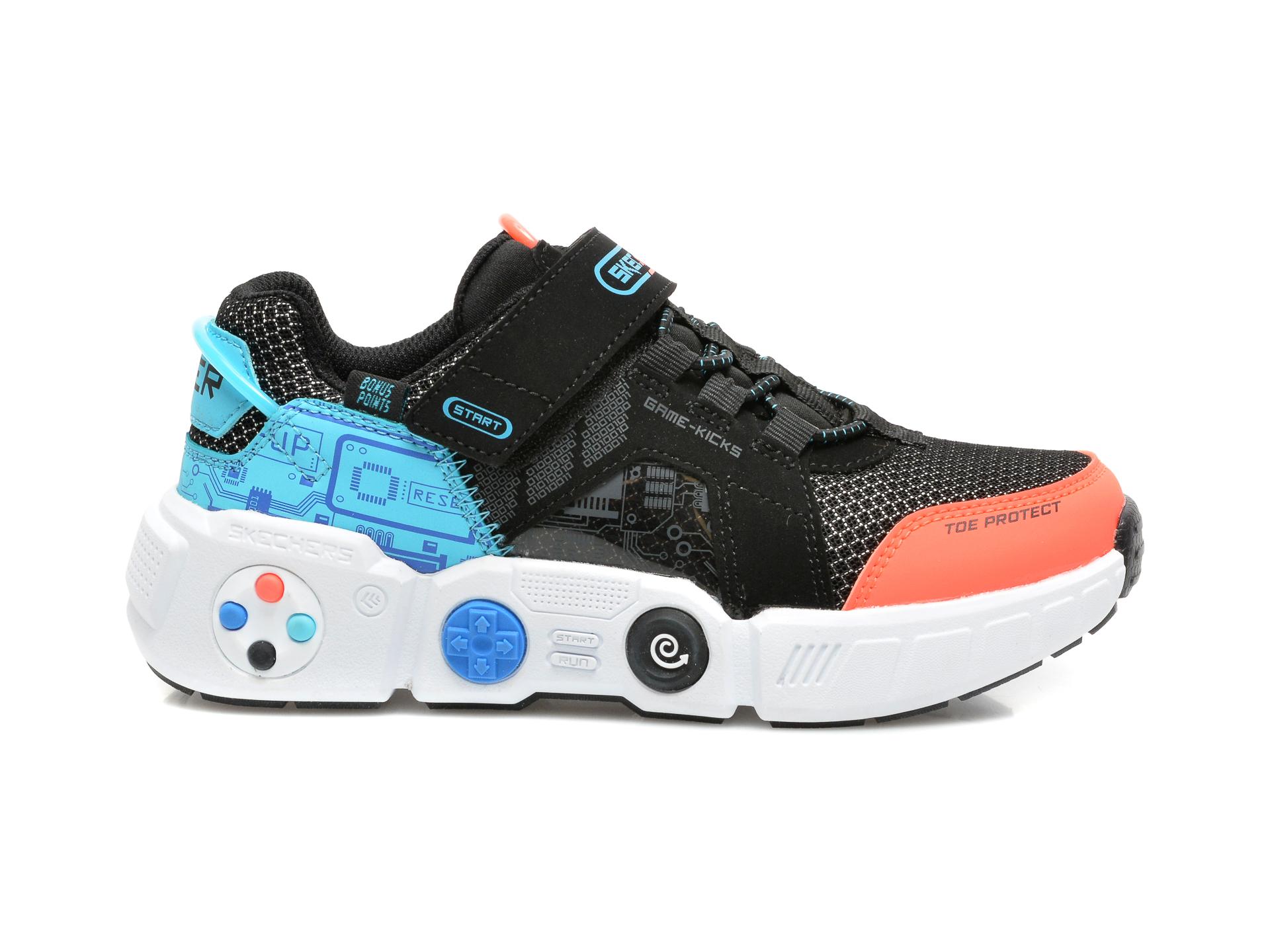 Pantofi sport SKECHERS negri, GAMETRONIX, din material textil si piele ecologica - 1
