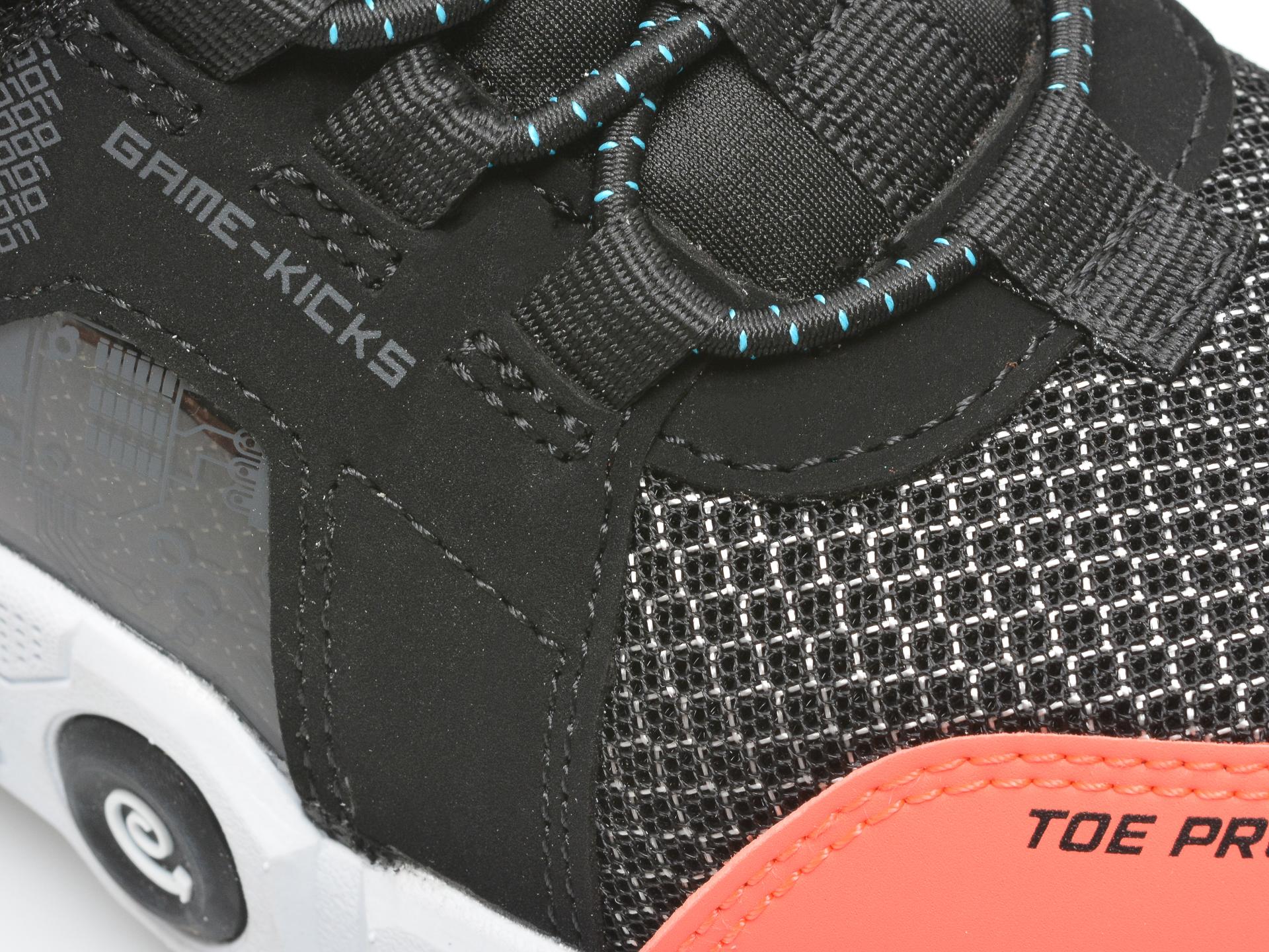 Pantofi sport SKECHERS negri, GAMETRONIX, din material textil si piele ecologica - 2