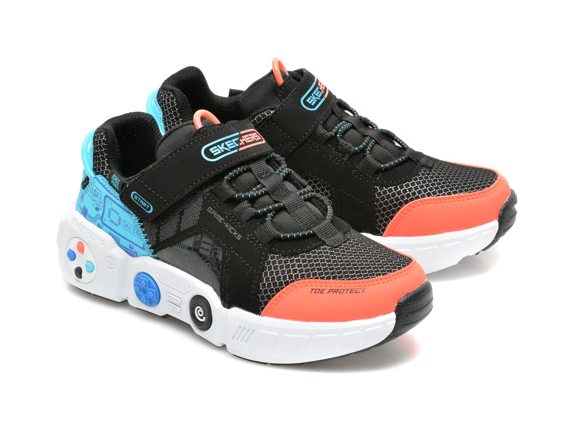 Pantofi sport SKECHERS negri, GAMETRONIX, din material textil si piele ecologica - 4