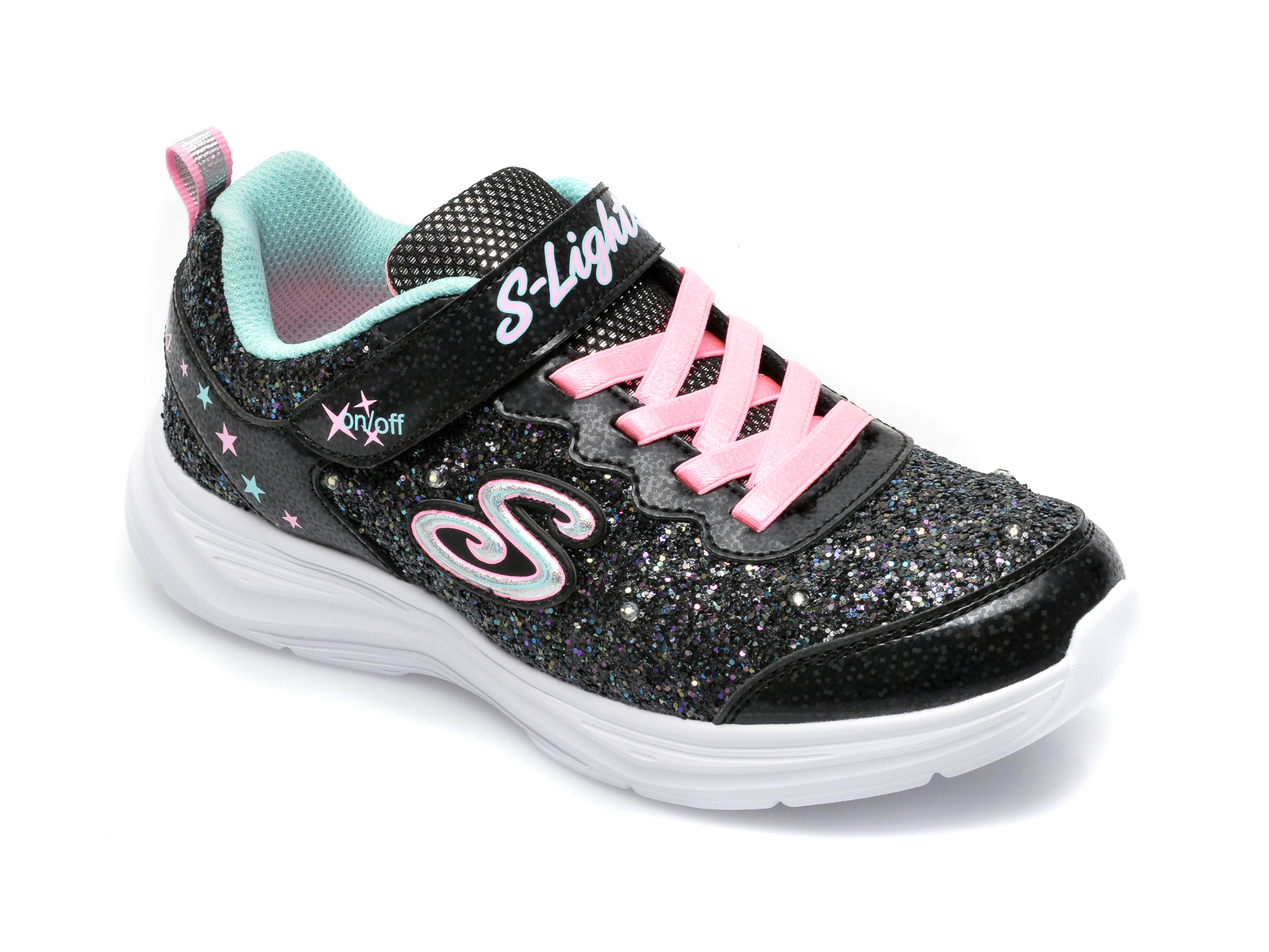 Pantofi sport SKECHERS negri, Glimmer Kicks, din piele ecologica imagine otter.ro