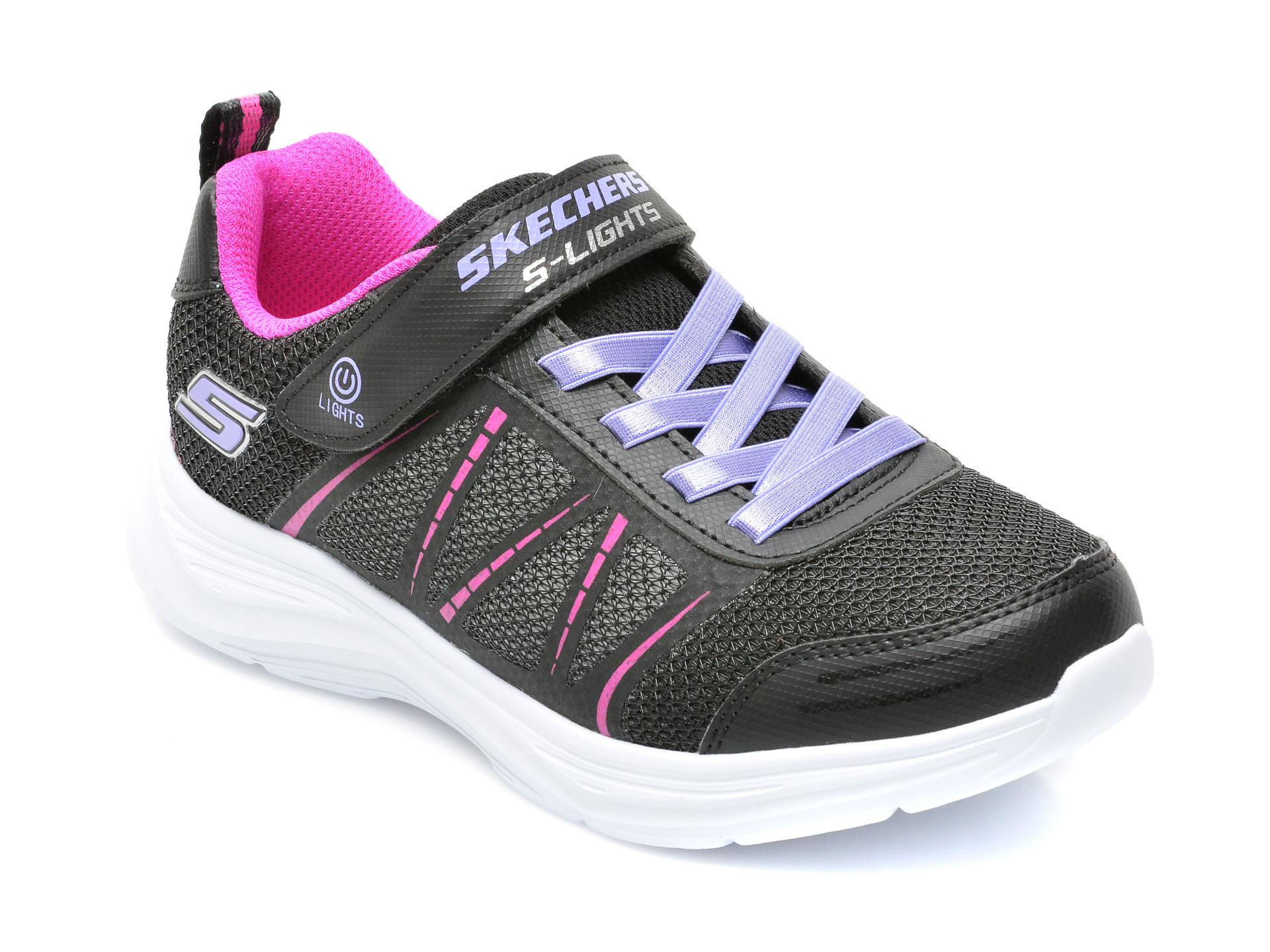 Pantofi sport SKECHERS negri, GLIMMER KICKS, din piele ecologica