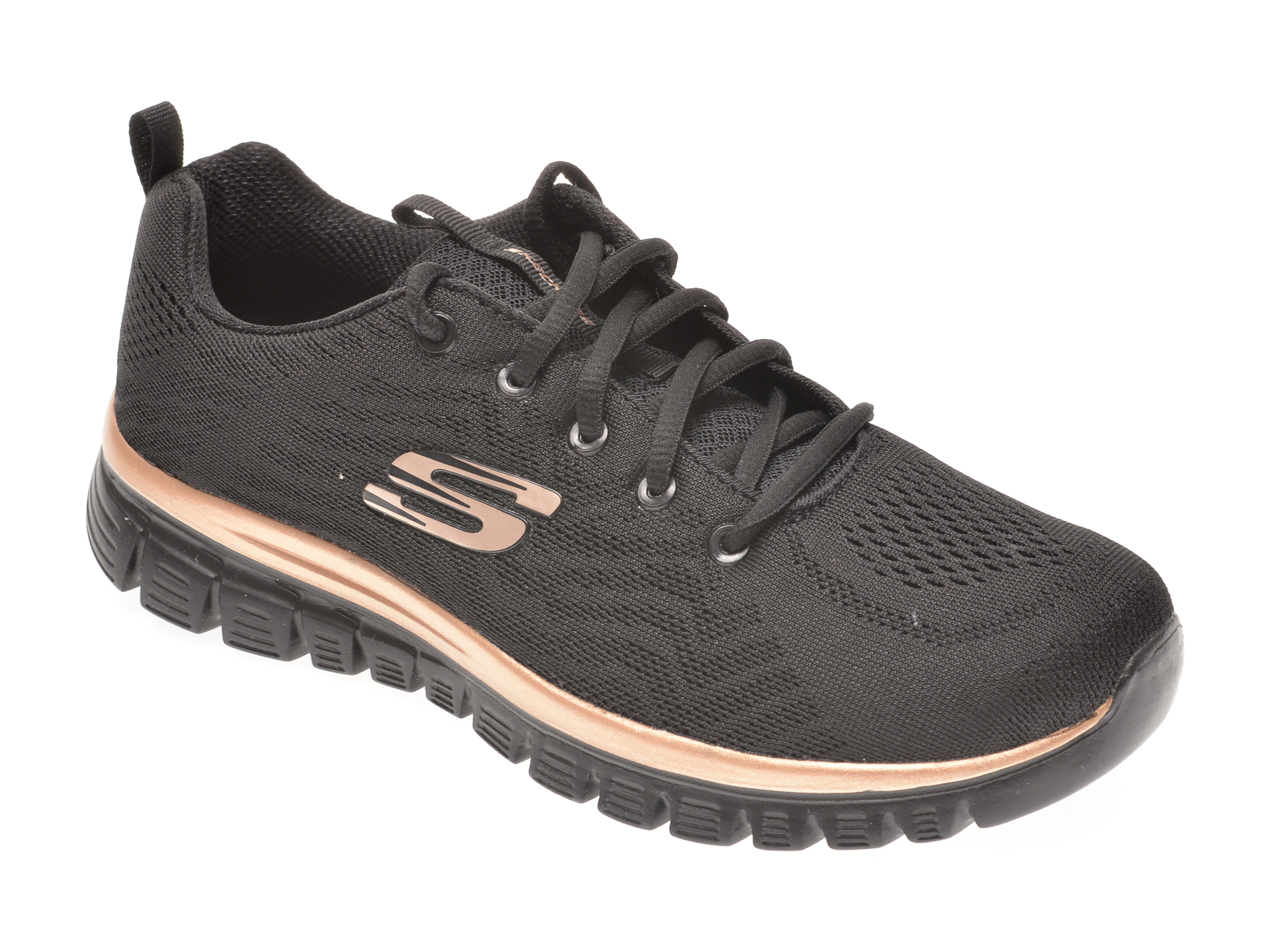 Pantofi sport SKECHERS negri, GRACEFUL GET CONNECTED, din material textil imagine otter.ro