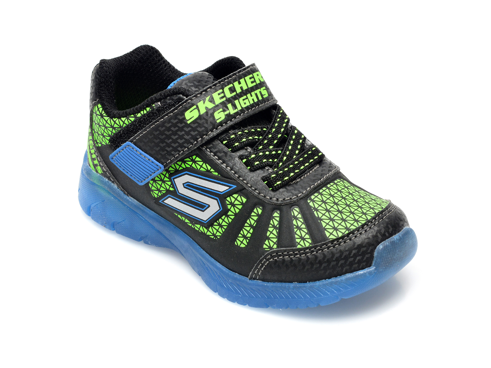 Pantofi sport SKECHERS negri, Illumi-Brights Tuff Track, din piele ecologica