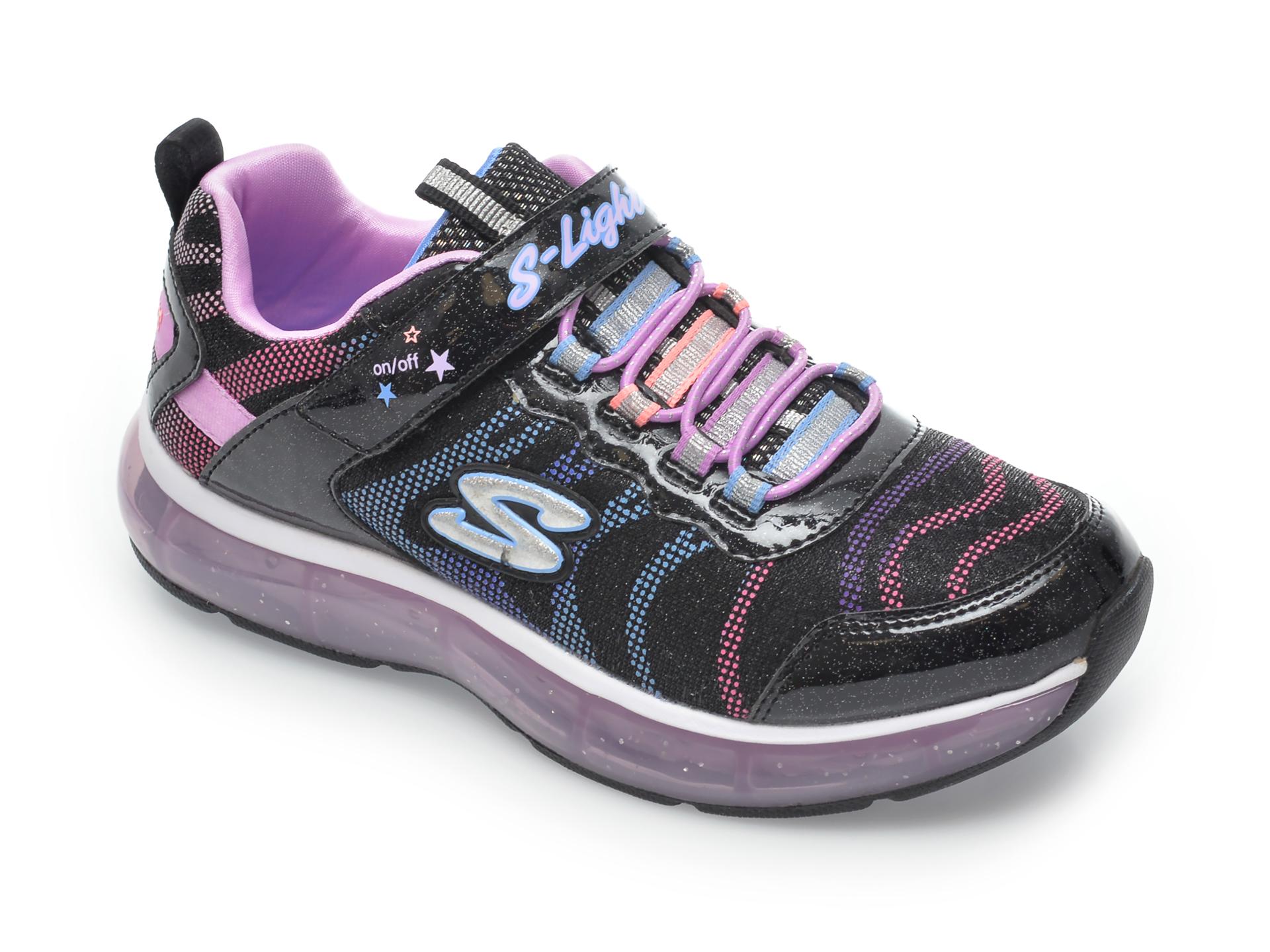 Pantofi sport SKECHERS negri, Light Sparks, din material textil