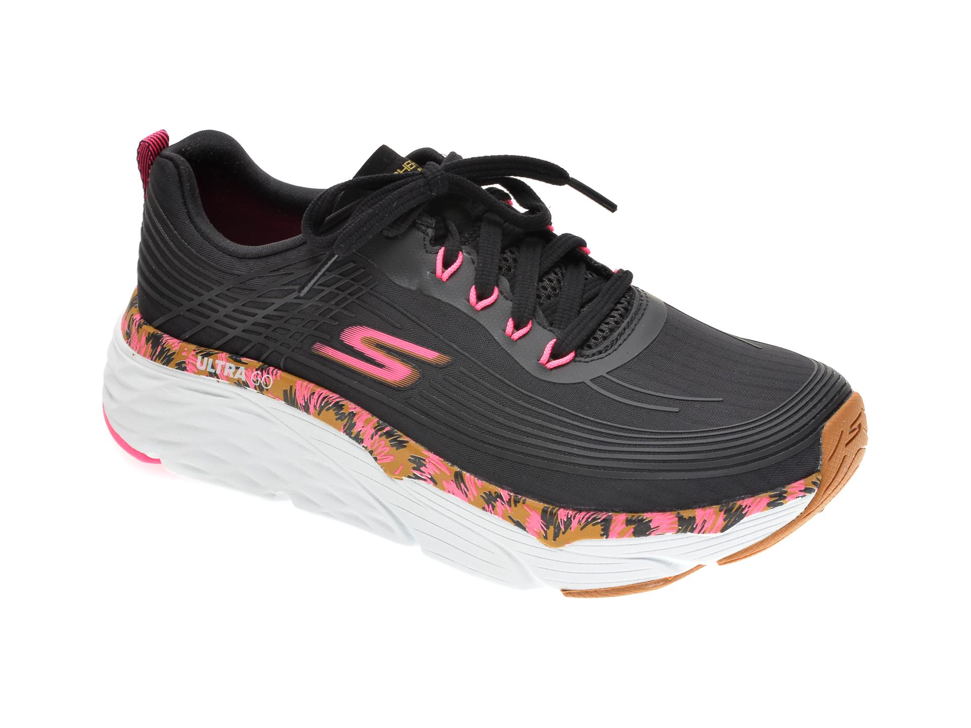 Pantofi sport SKECHERS negri, MAX CUSHIONING ELITE ELECTRO POP, din material textil