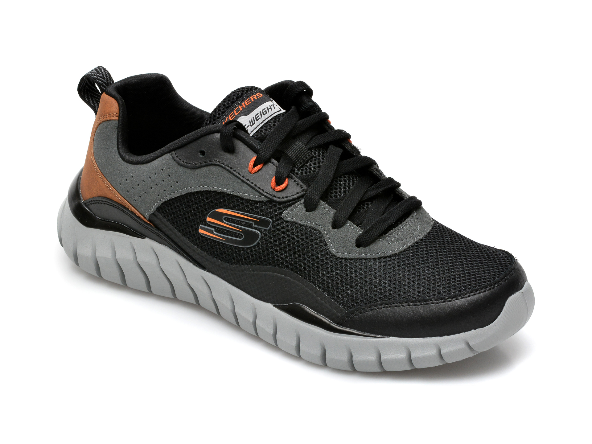 Pantofi sport SKECHERS negri, Overhaul Betley, din material textil si piele naturala imagine