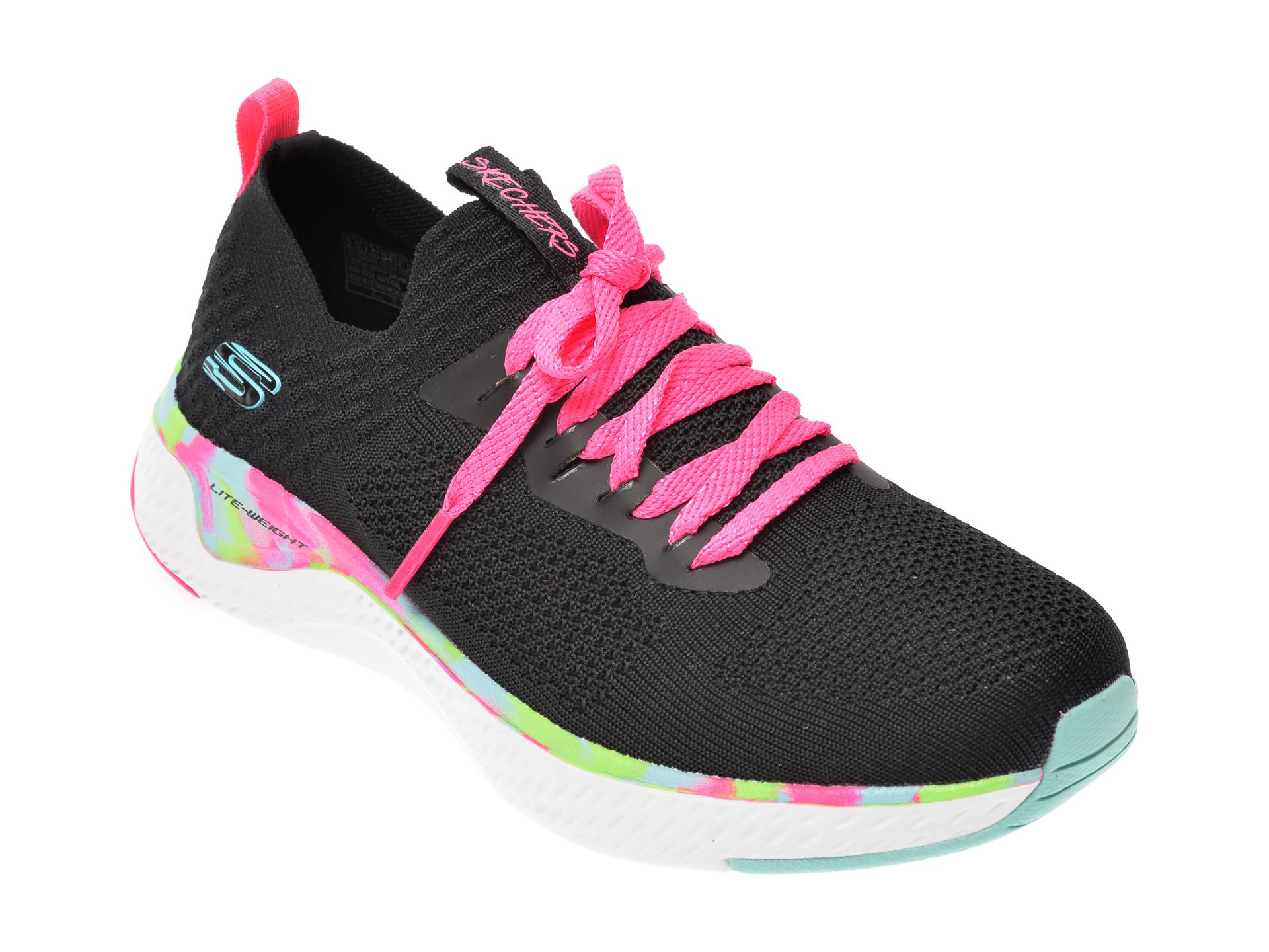 Pantofi sport SKECHERS negri, Solar Fuse, din material textil New