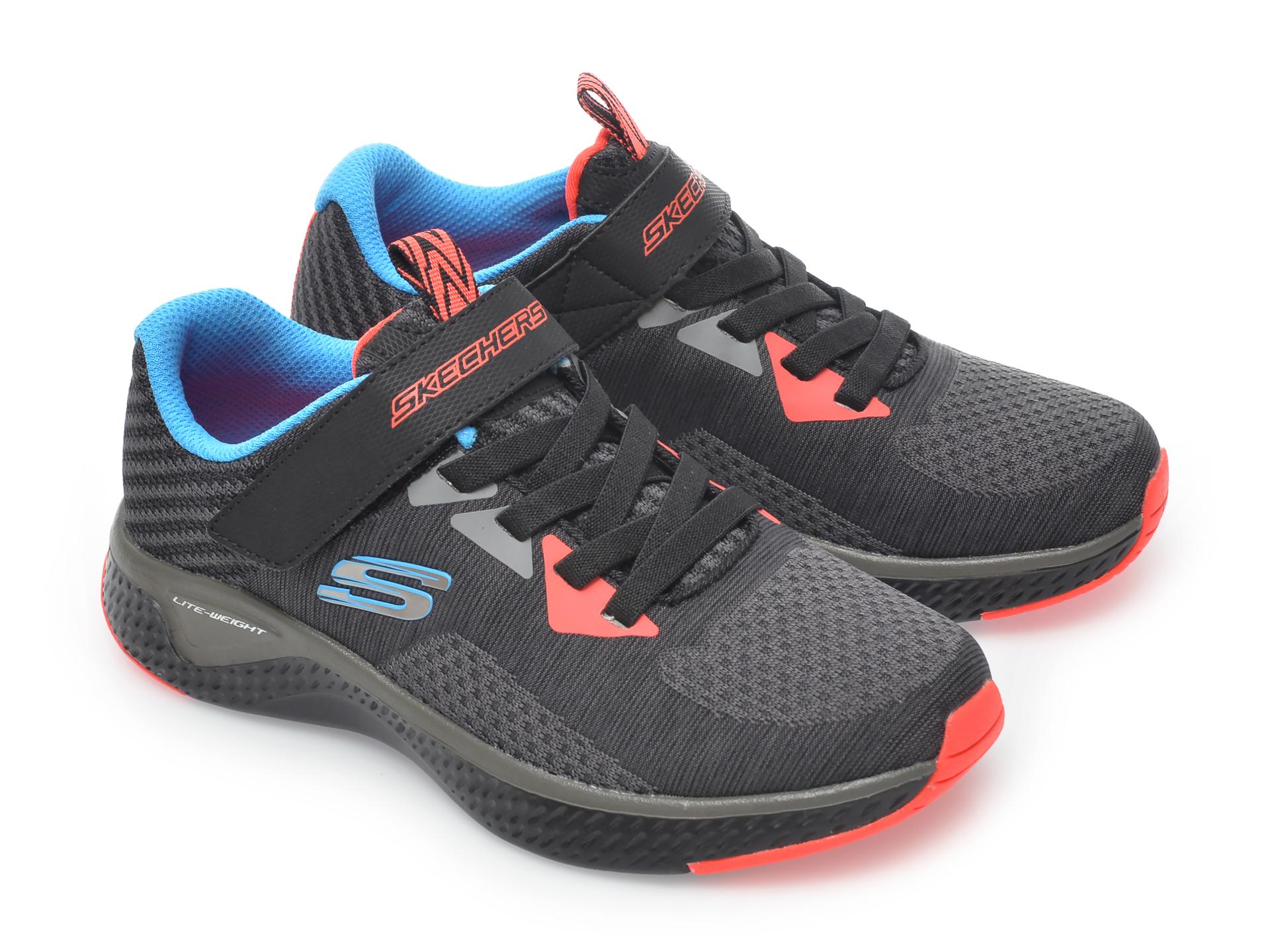 Pantofi sport SKECHERS negri, Solar Fuse Speed Blitz, din material textil - 4