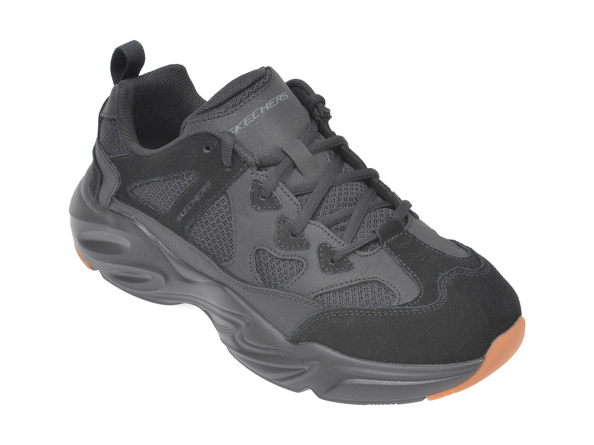 Pantofi sport SKECHERS negri, Stamina Airy, din material textil si piele naturala imagine
