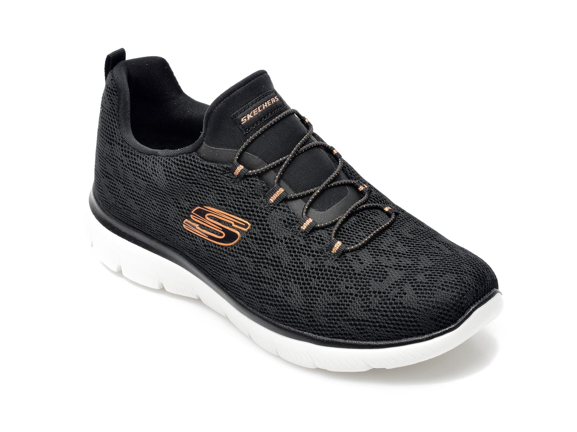 Pantofi sport SKECHERS negri, Summitsleopard Spot, din material textil