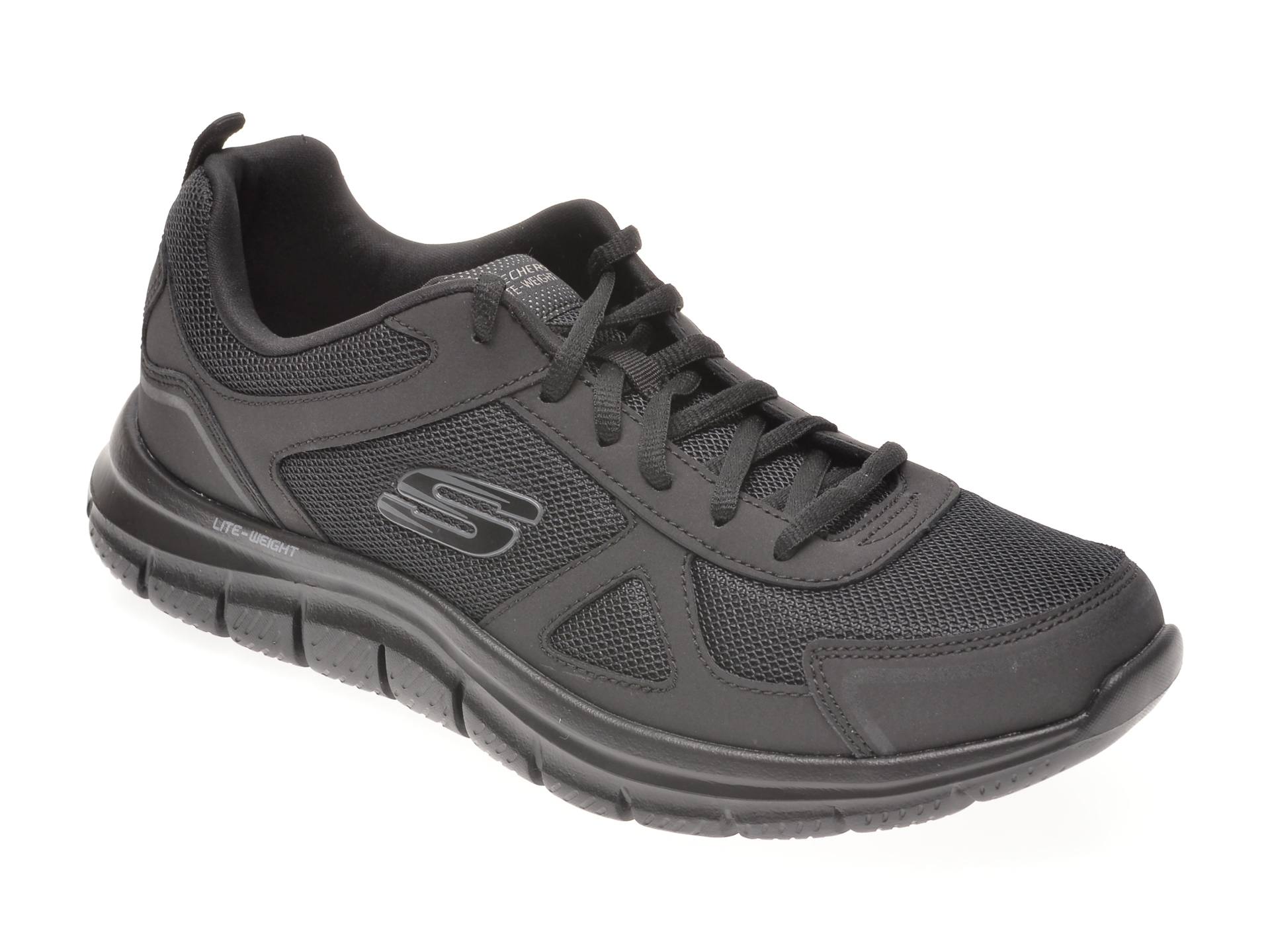 Pantofi sport SKECHERS negri, TRACK SCLORIC, din material textil si piele naturala imagine