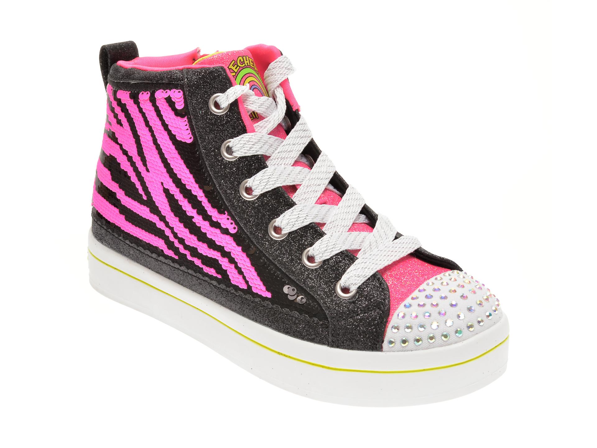 Pantofi sport SKECHERS negre, TWI-LITES 2.0 NEON MUSE, din material textil