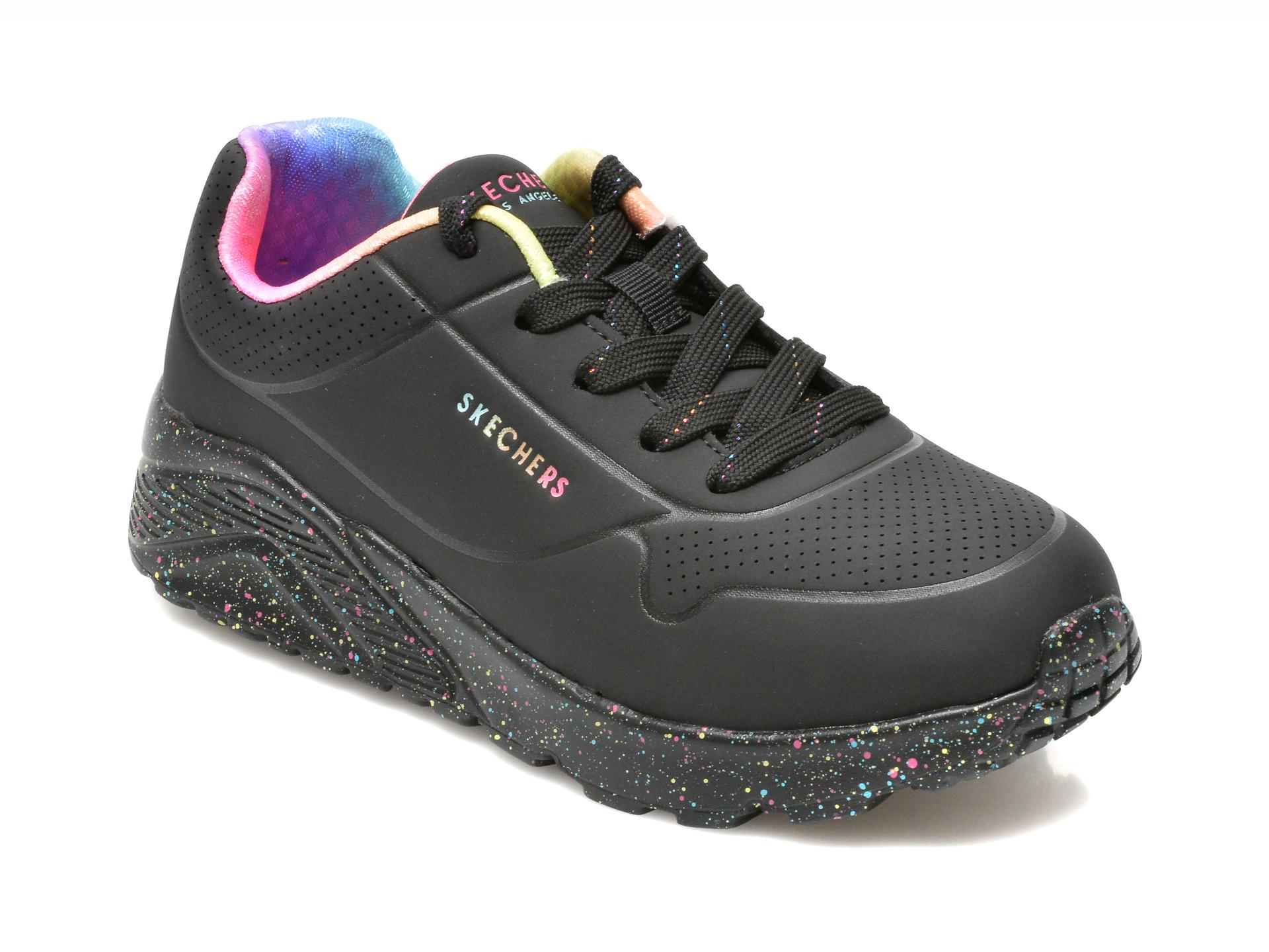 Pantofi sport SKECHERS negri, UNO LITE, din piele ecologica
