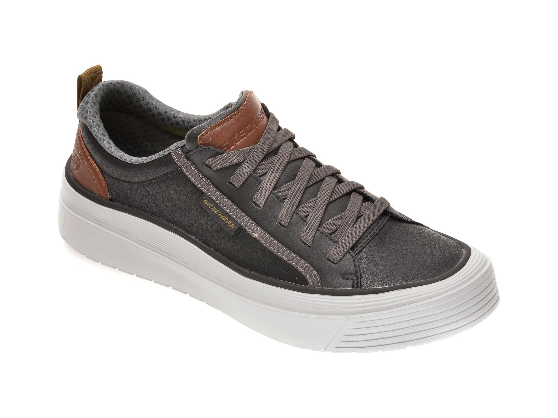 Pantofi sport SKECHERS negri, VIEWPORT BROLEN, din piele naturala imagine