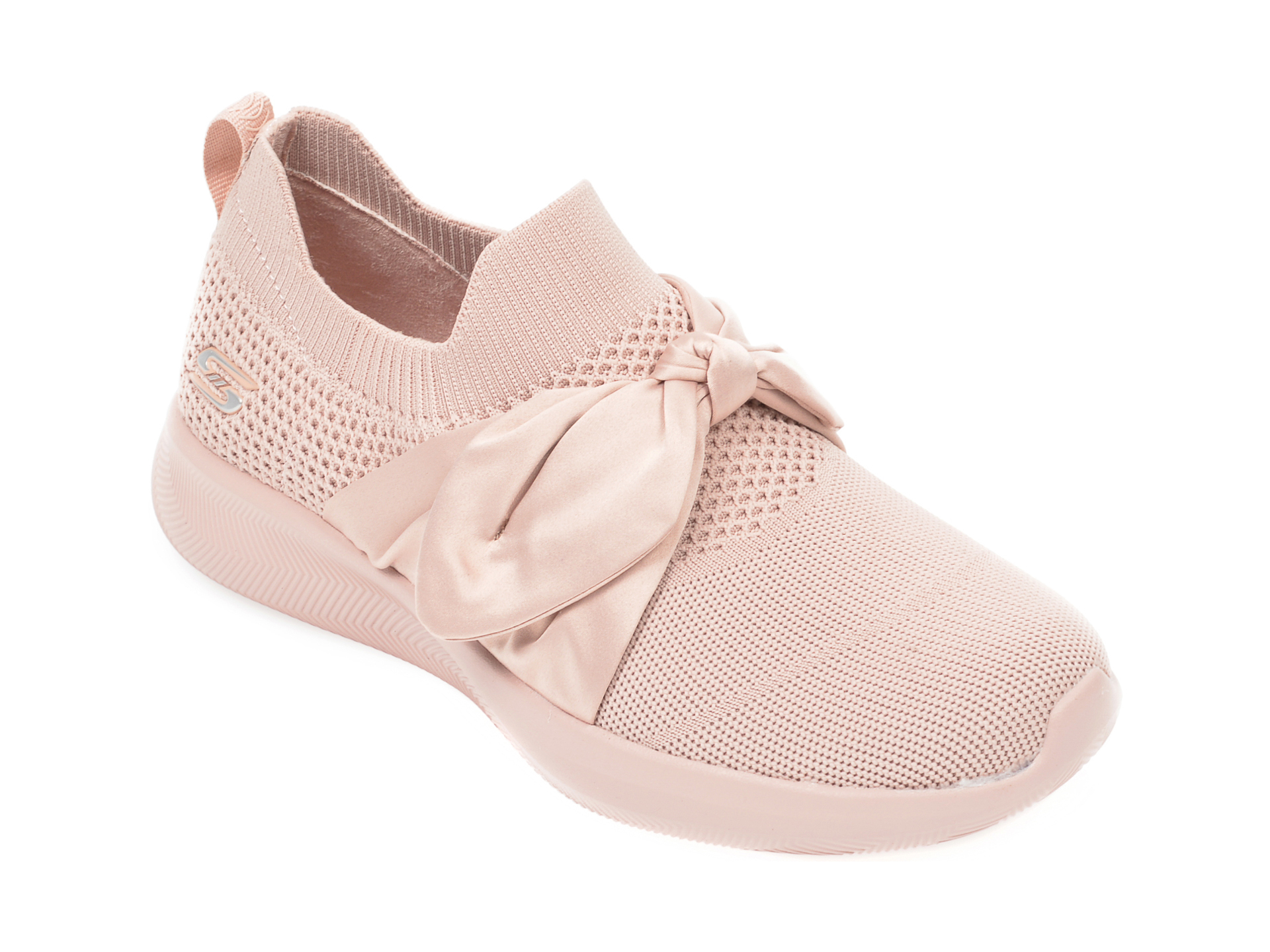 Pantofi sport SKECHERS nude, Bobs Squad 2 Bow Beauty, din material textil