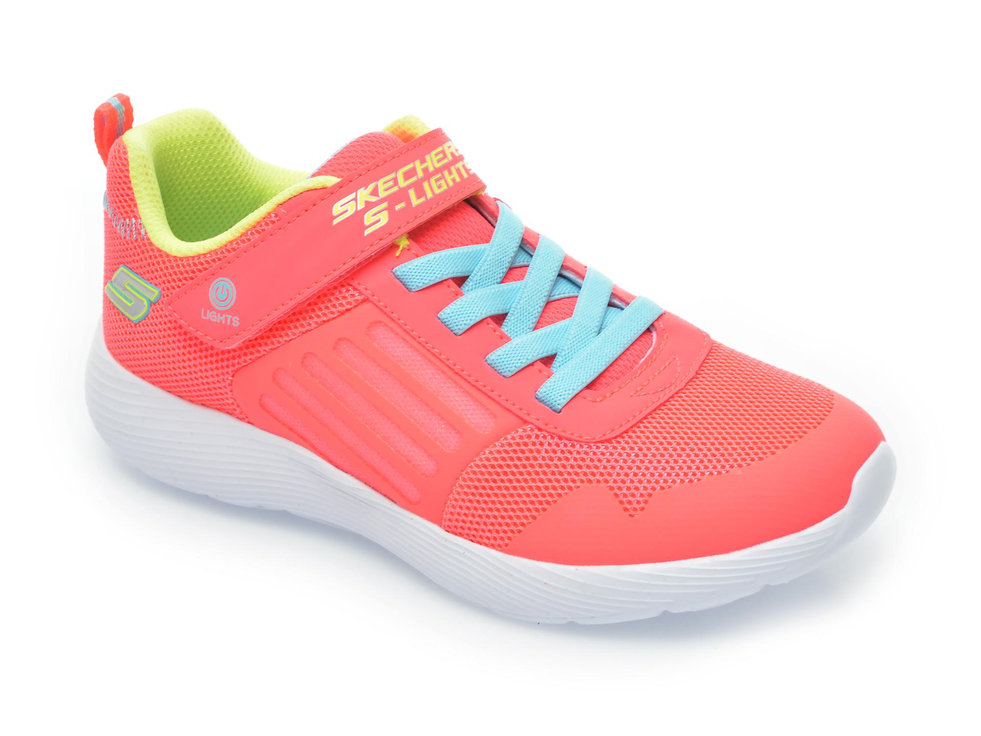 Pantofi sport SKECHERS portocalii, Dyna-Lights, din material textil imagine otter.ro