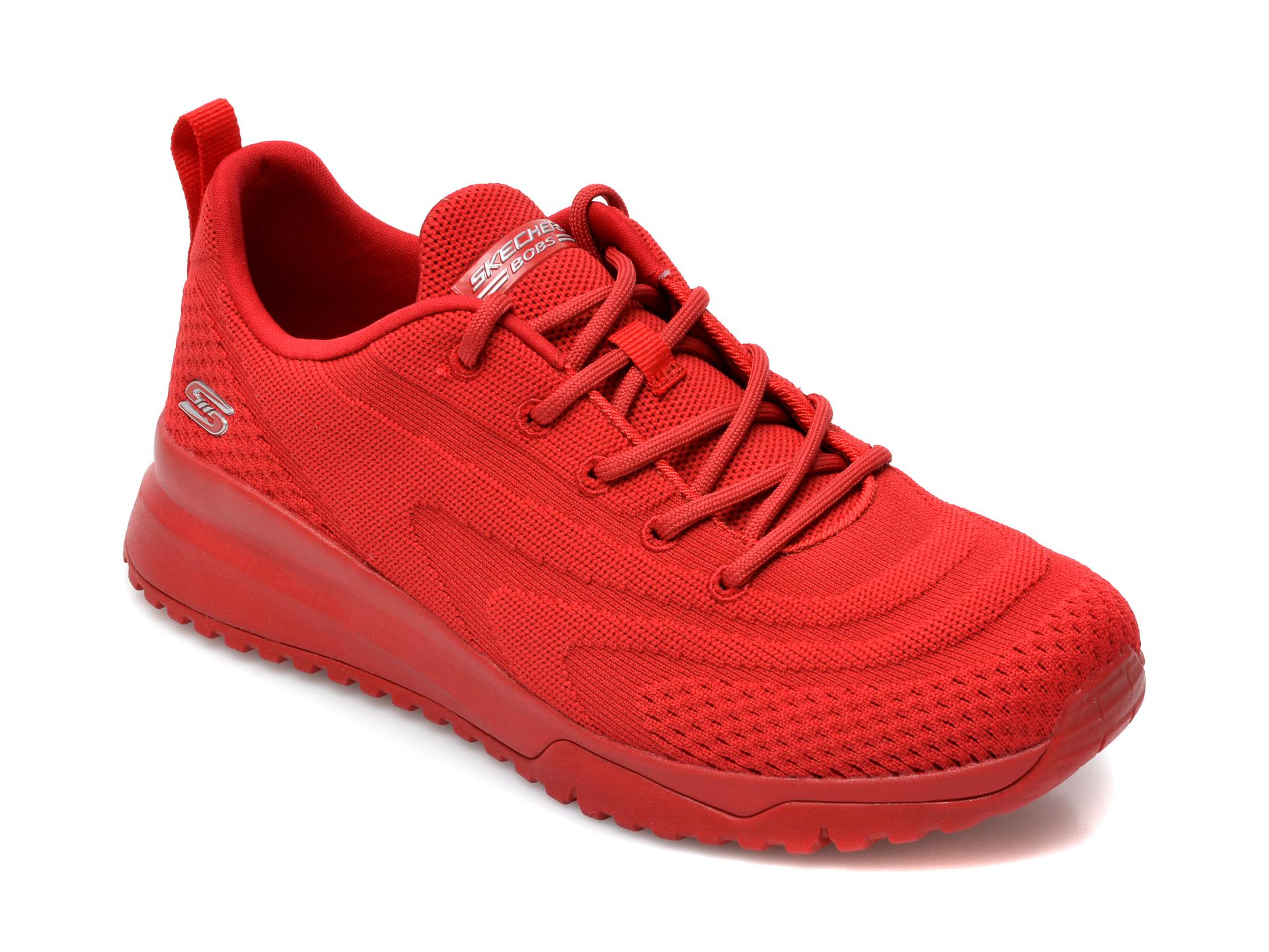 Pantofi sport SKECHERS rosii, Bobs Squad 3, din material textil imagine otter.ro 2021