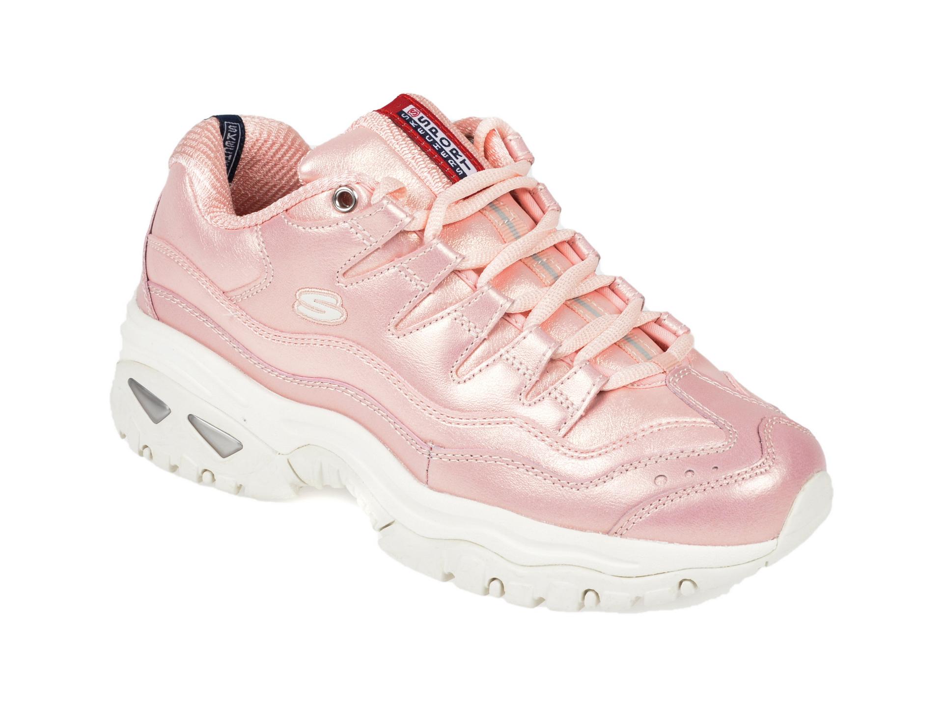 Pantofi sport SKECHERS roz, Energy Glacier Views, din piele naturala
