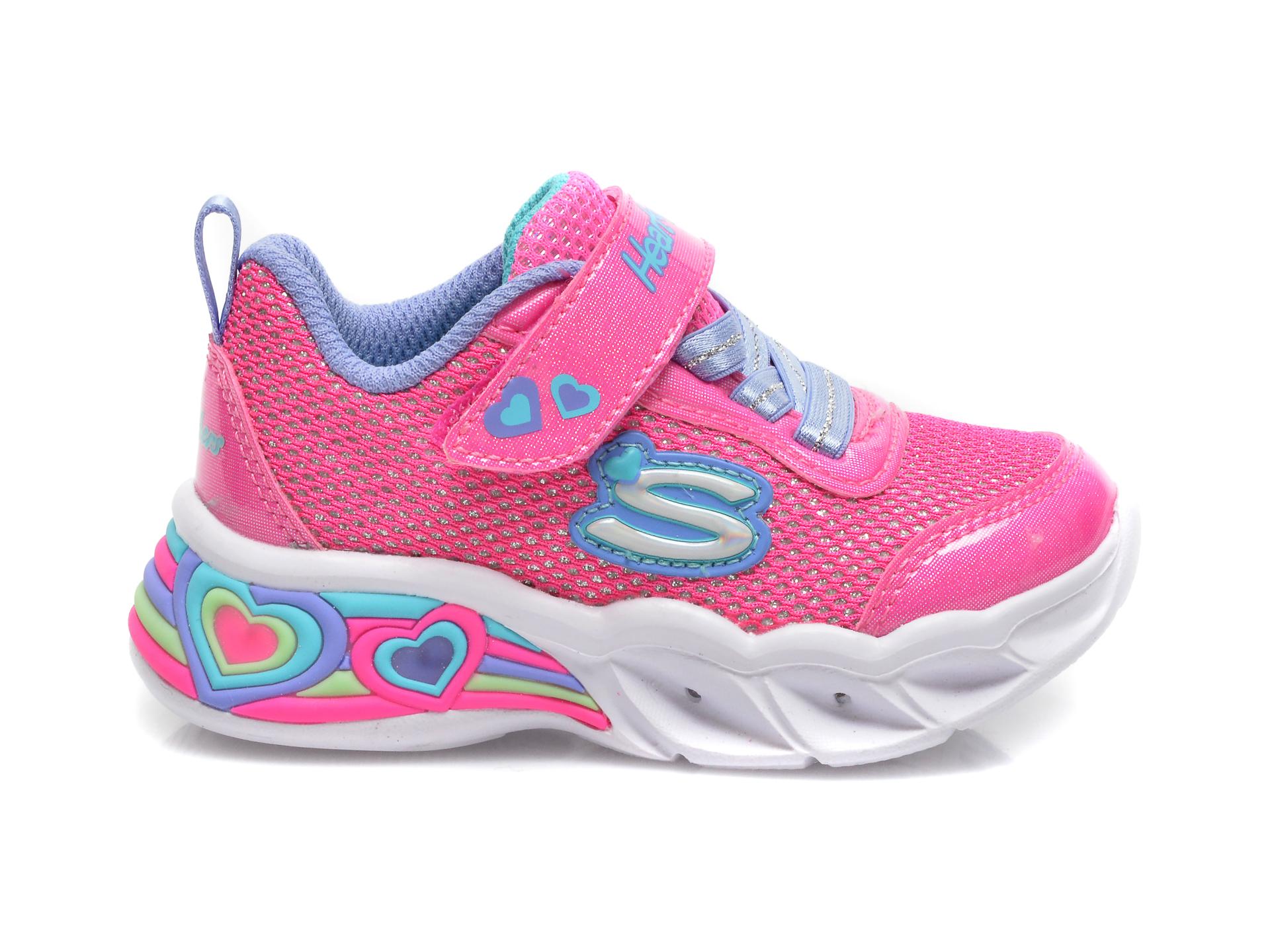 Pantofi sport SKECHERS roz, Sweetheart Lights Shimmer Spells, din piele ecologica - 1