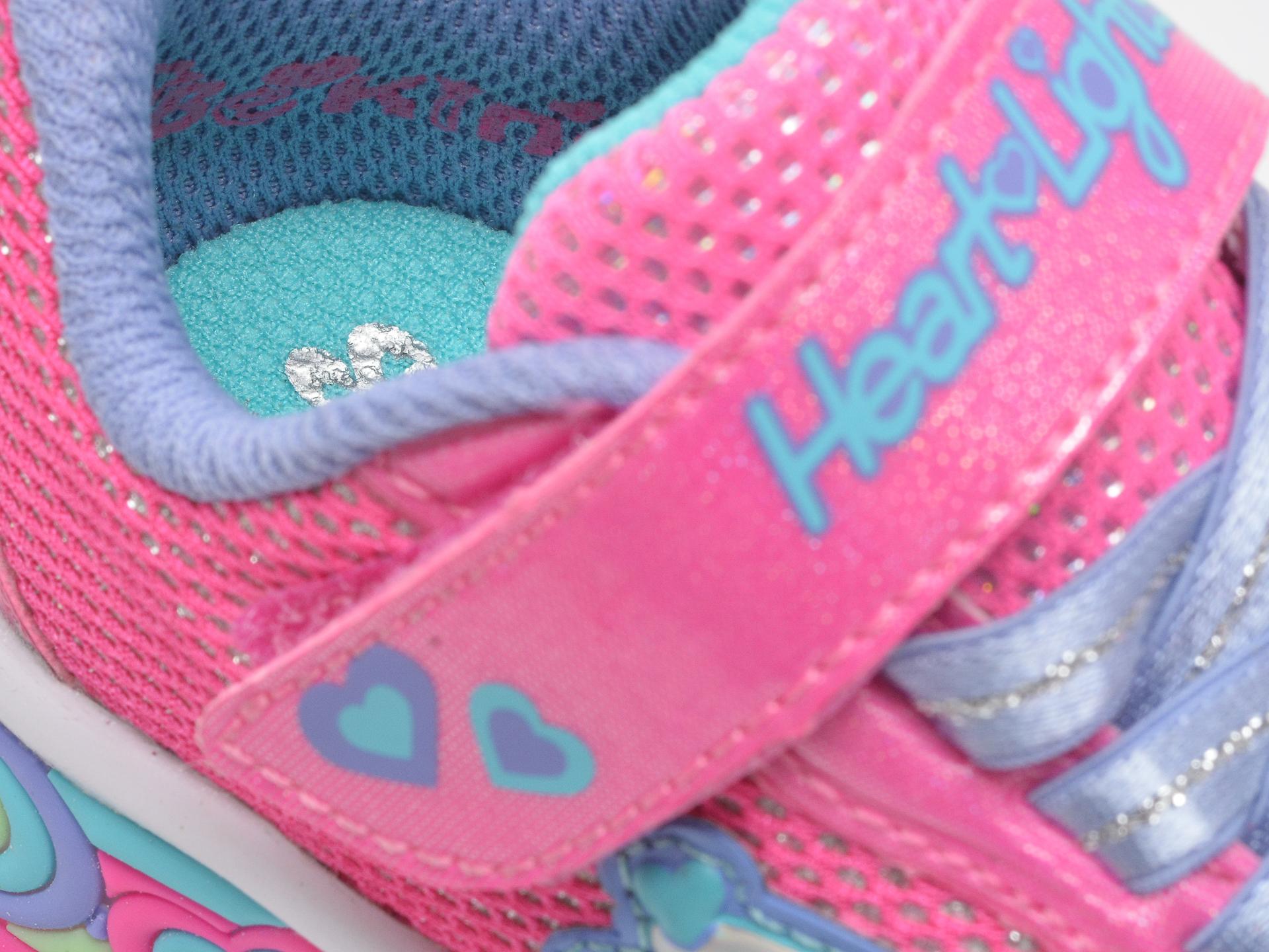 Pantofi sport SKECHERS roz, Sweetheart Lights Shimmer Spells, din piele ecologica - 3