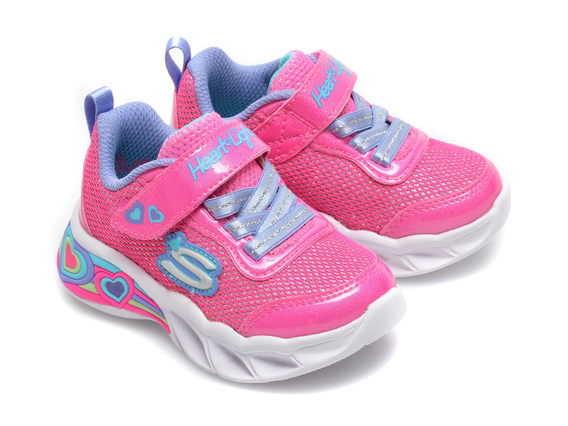Pantofi sport SKECHERS roz, Sweetheart Lights Shimmer Spells, din piele ecologica - 4