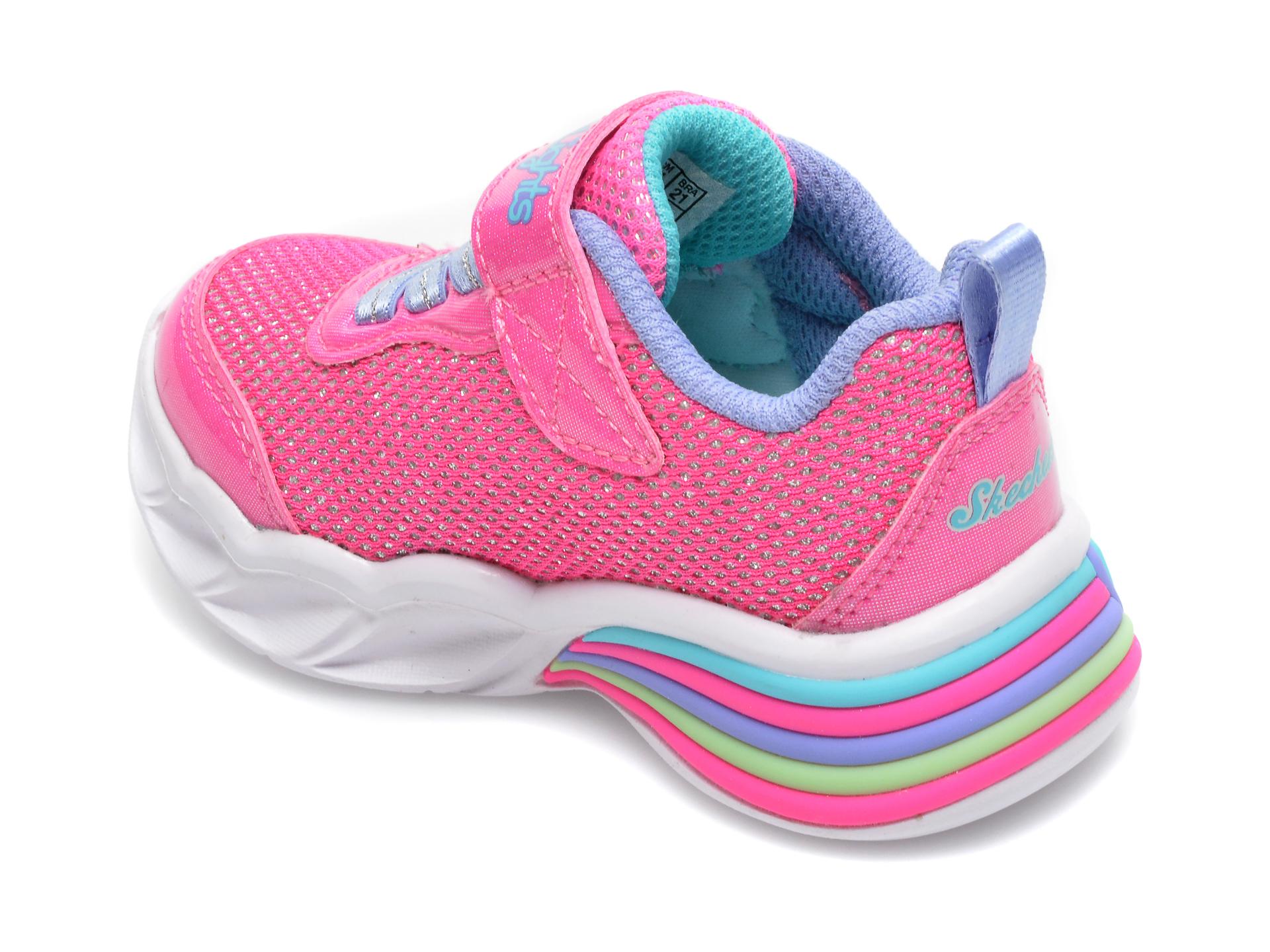 Pantofi sport SKECHERS roz, Sweetheart Lights Shimmer Spells, din piele ecologica - 5